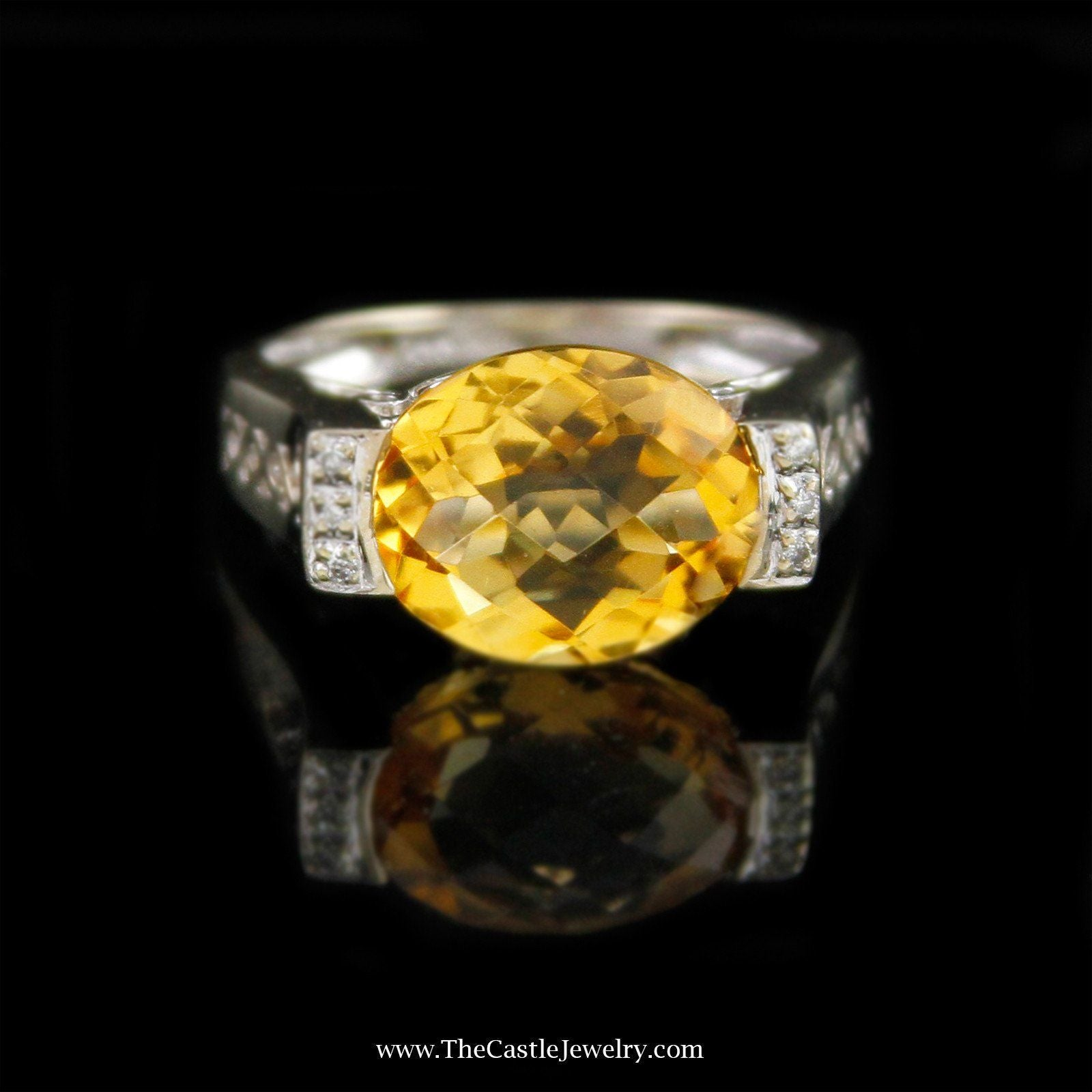 Oval Fantasy Cut Citrine Ring with Round Diamond Sides in 14K White Gold