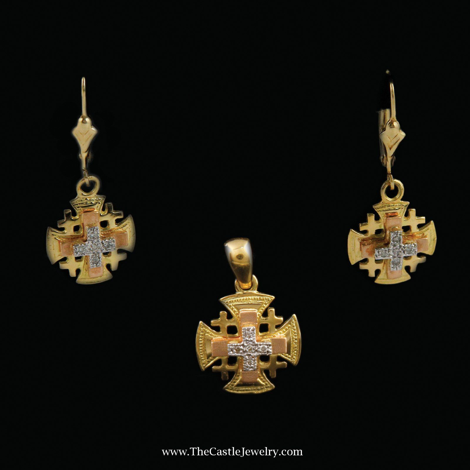 Medieval Style Cross Crest Pendant and Earring Combo in 18K Gold
