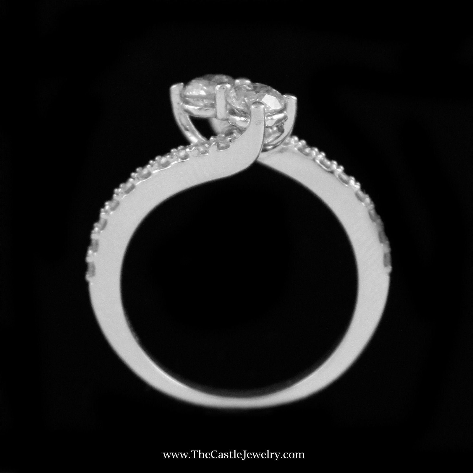 Beautiful 1cttw My True Love & My Best Friend Diamond Ring Crafted in 14K White Gold-1