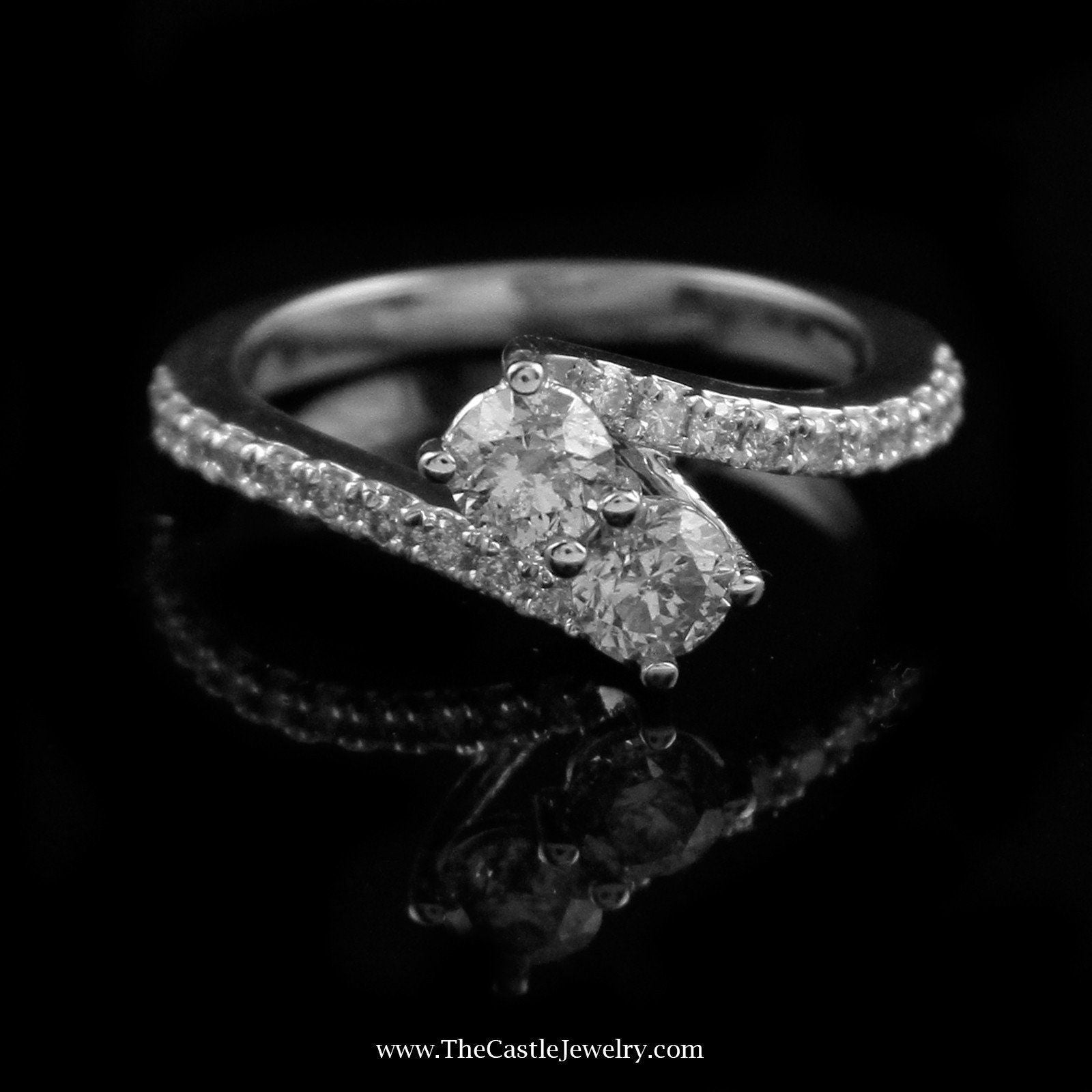 Beautiful 1cttw My True Love & My Best Friend Diamond Ring Crafted in 14K White Gold