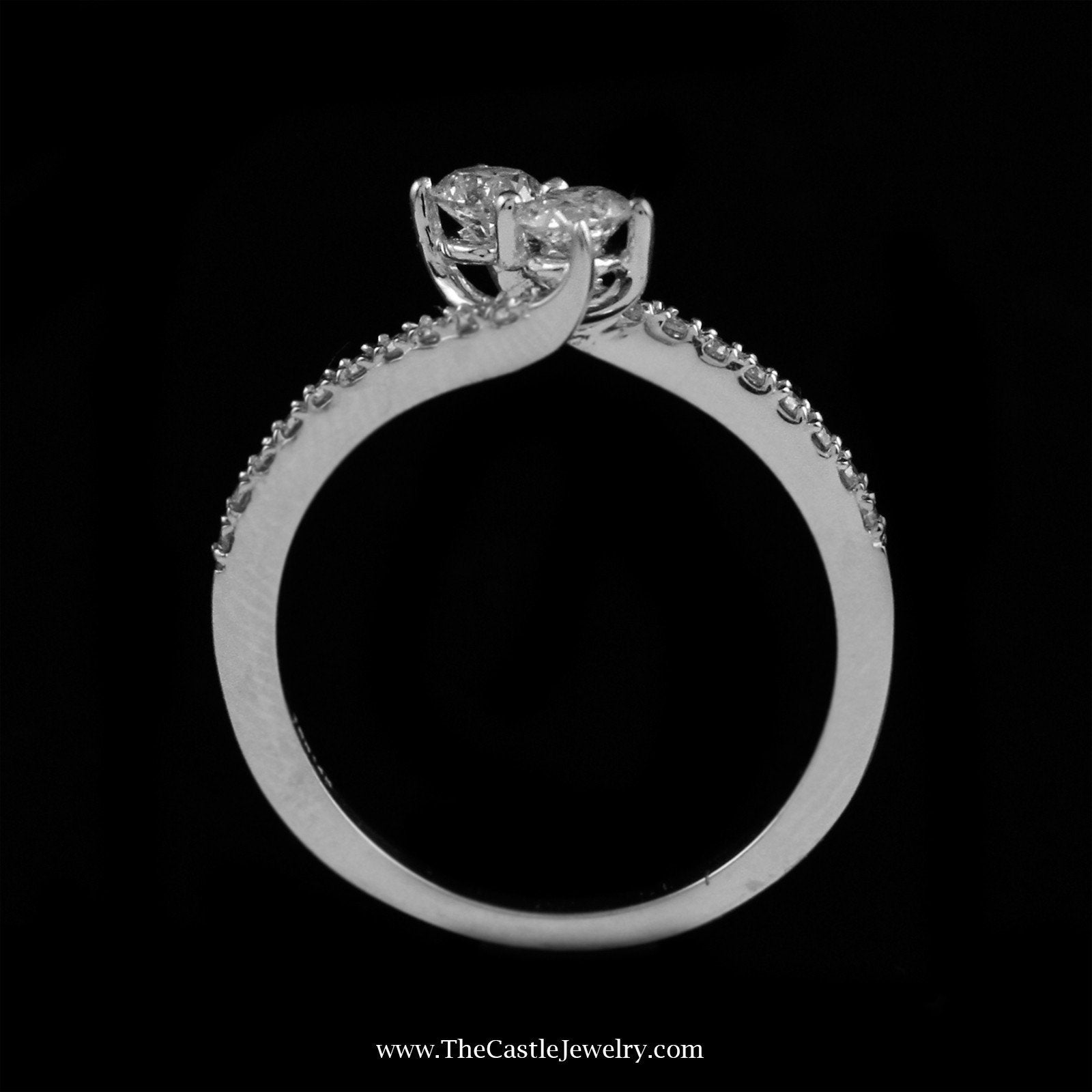 SPECIAL! Beautiful .50Cttw My True Love & My Best Friend Diamond Ring In 14K White Gold-1