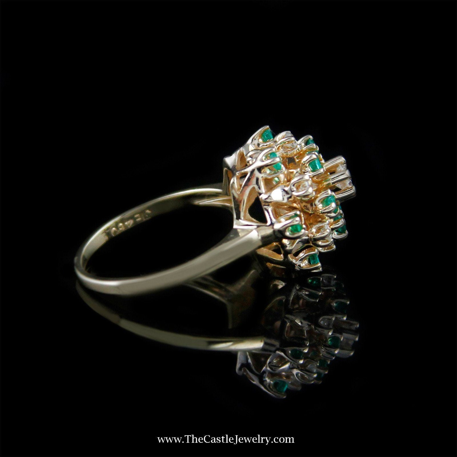 Beautiful Emerald and Diamond Cluster Ring in 14K Yellow Gold-2