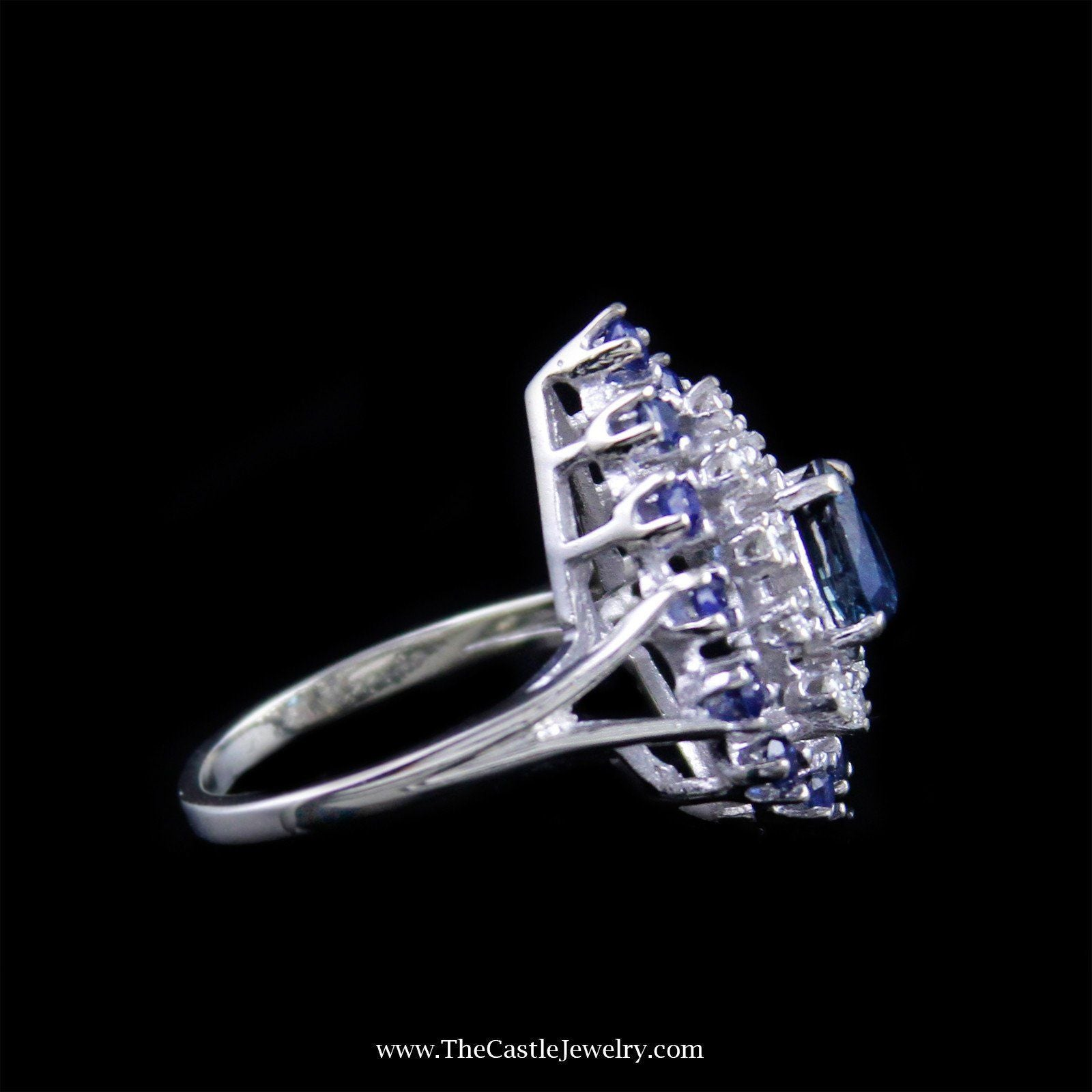 Pear Shaped Sapphire and Diamond Cocktail Ring in 14K White Gold-2