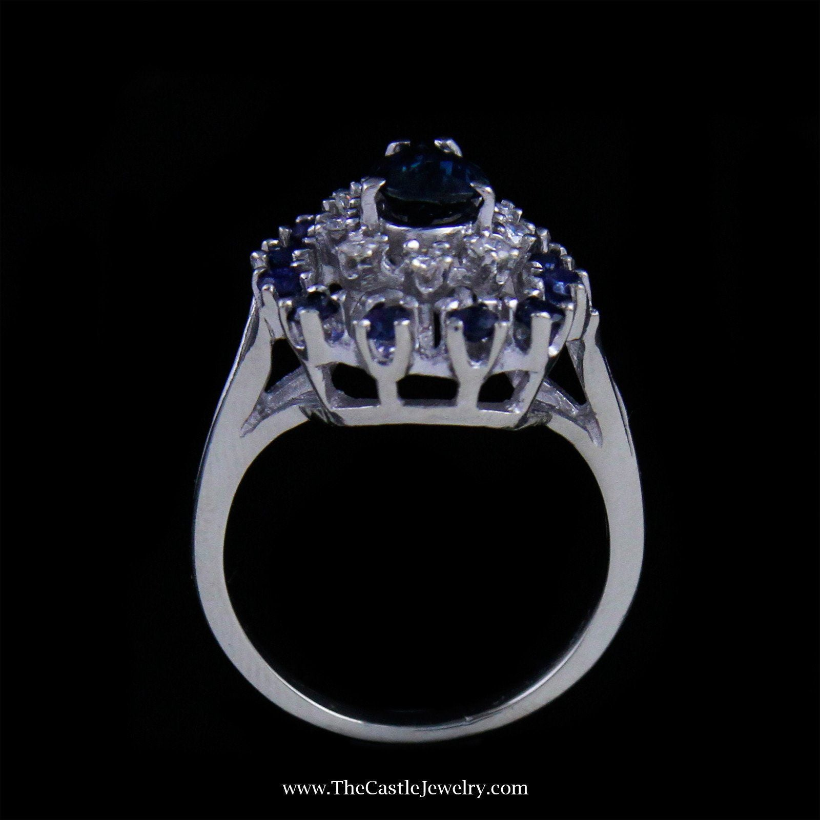 Pear Shaped Sapphire and Diamond Cocktail Ring in 14K White Gold-1