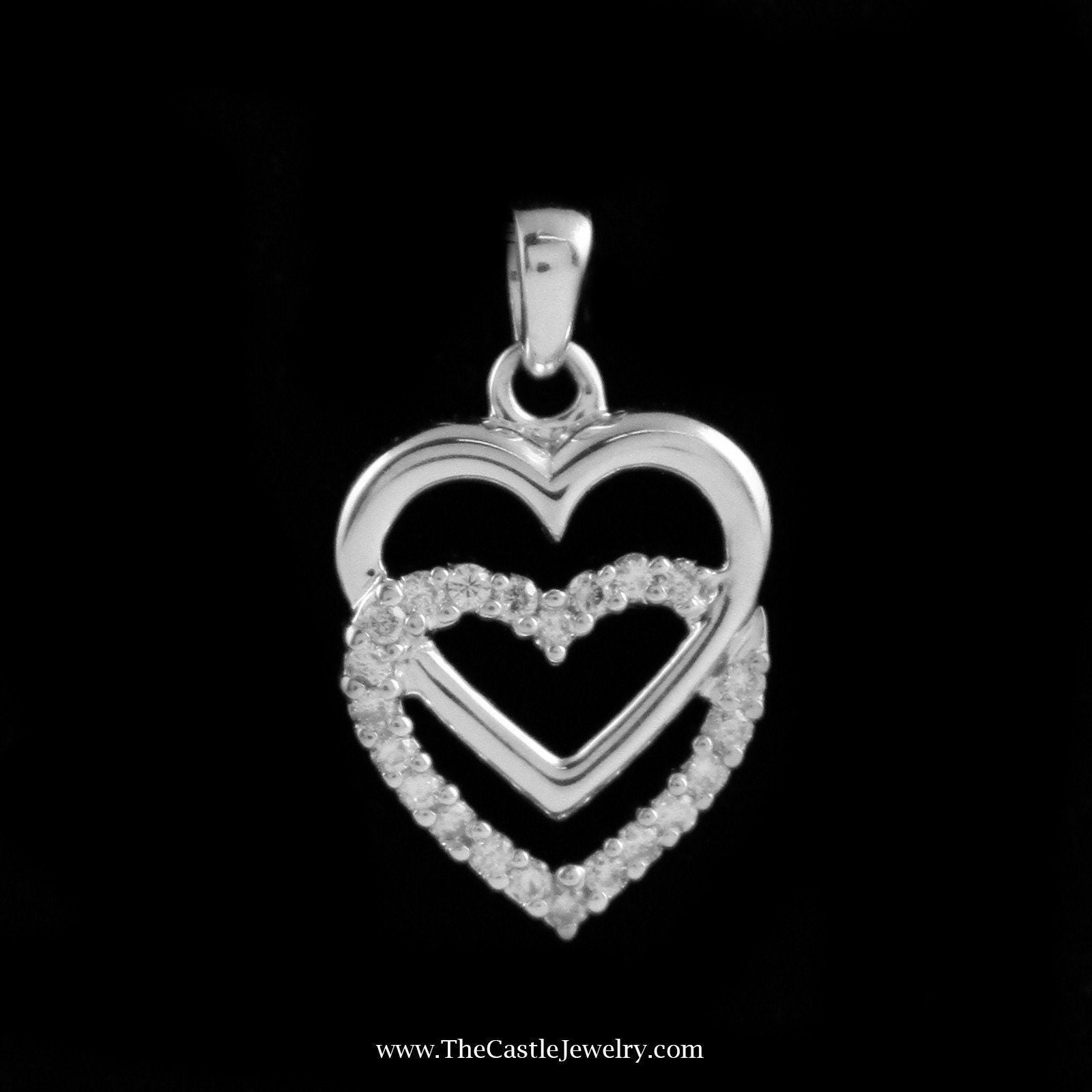Double Interlocking Heart Pendant with .25cttw Diamond in 14K White Gold