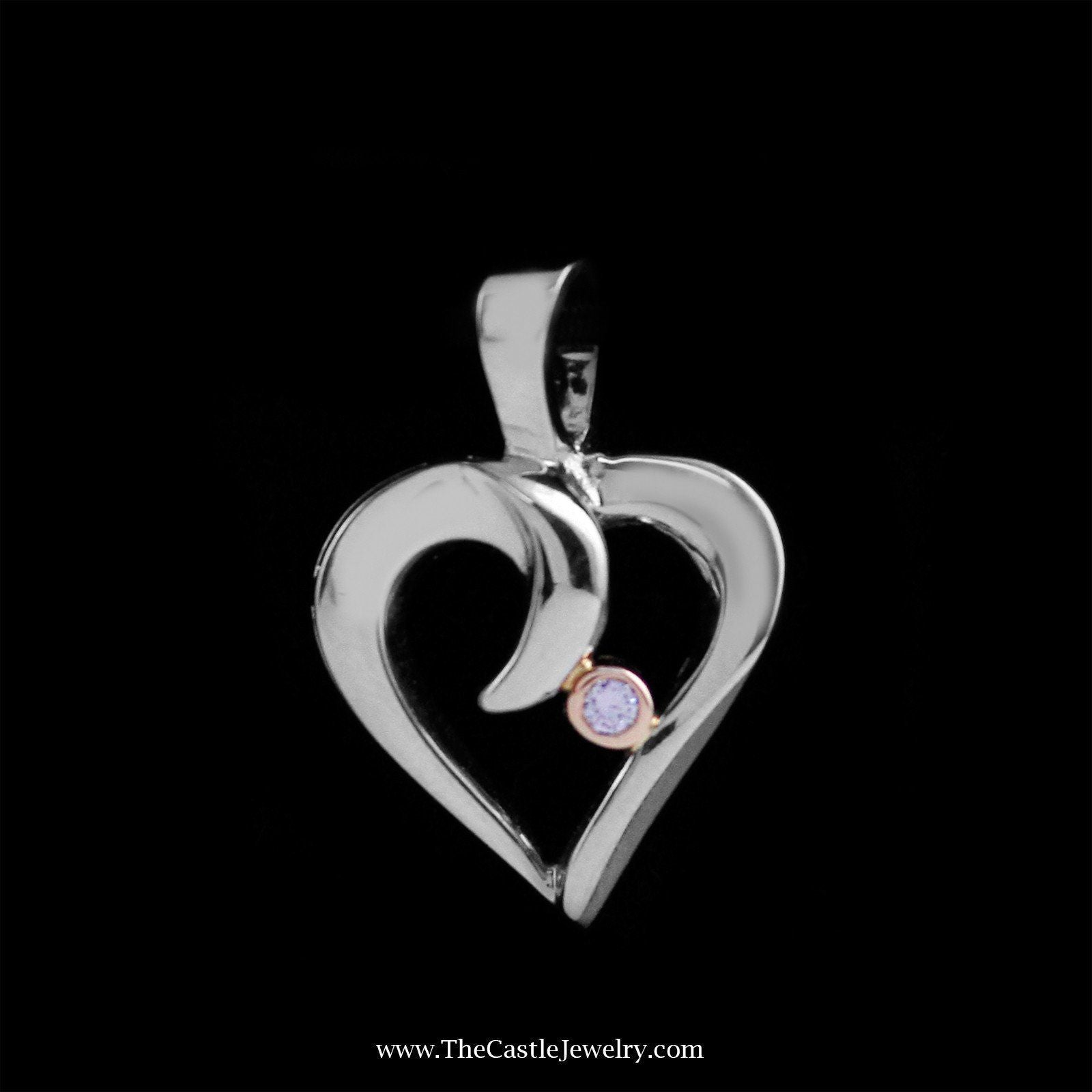 Unique Heart Pendant in White Gold with Bezel Set Diamond Accent in Rose Gold