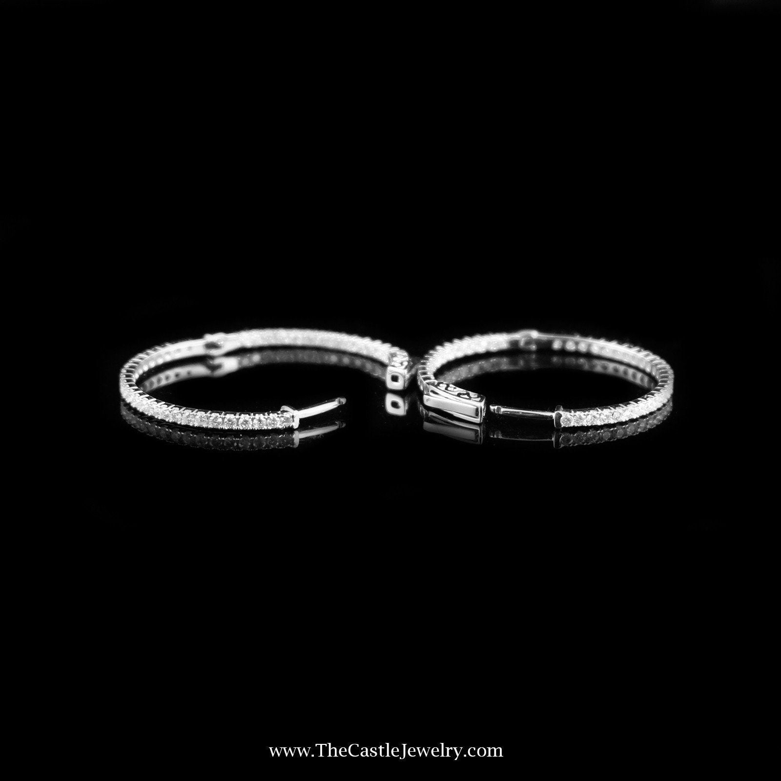 SPECIAL! Stunning In & Out 1cttw Diamond Hoops in 14K White Gold-1