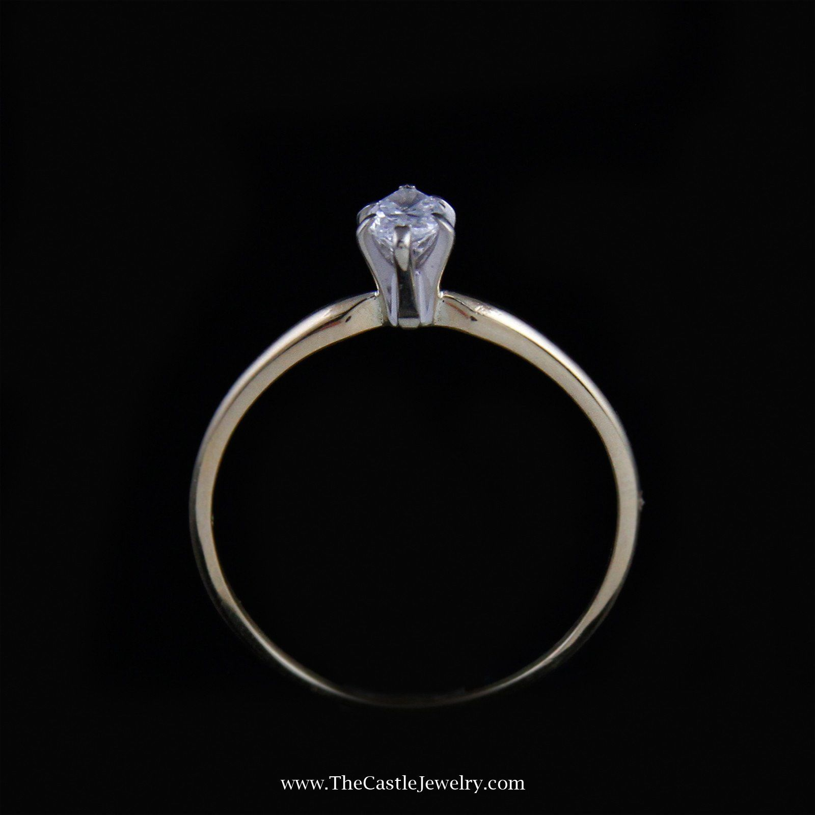 Beautiful Marquise Solitaire Diamond Engagement Ring in 14K Yellow Gold-1
