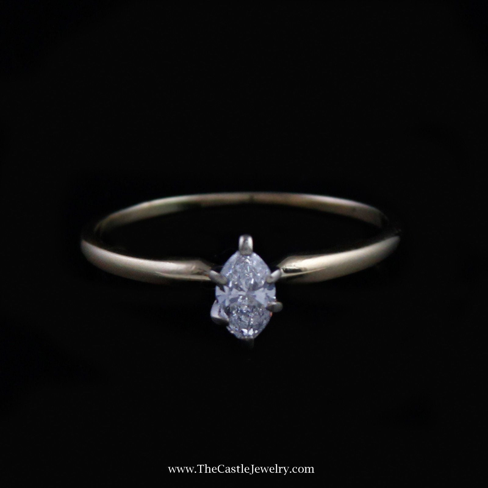 Beautiful Marquise Solitaire Diamond Engagement Ring in 14K Yellow Gold