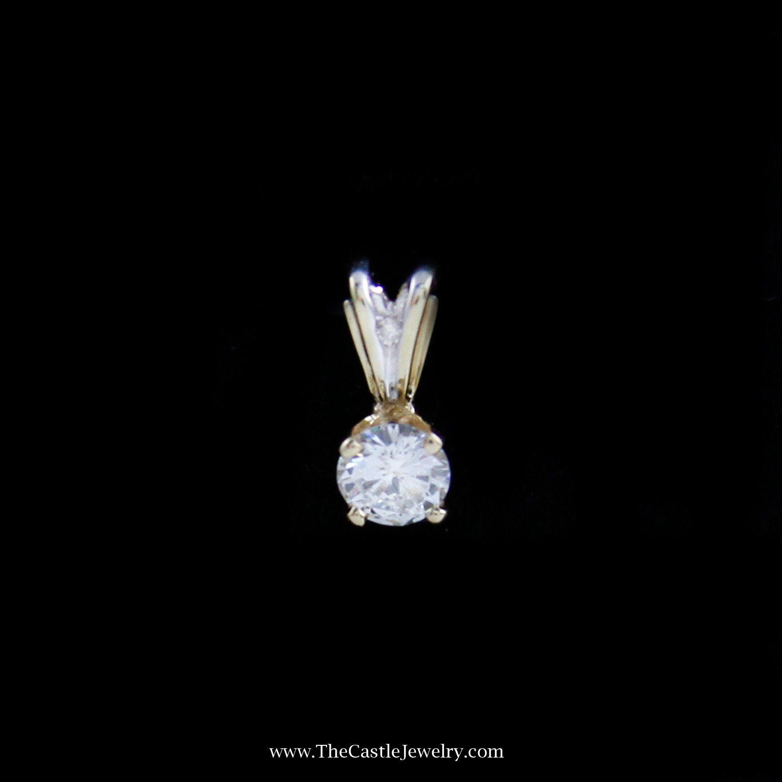 Lovely Round Brilliant Cut Diamond Solitaire Pendant in 14K Yellow Gold