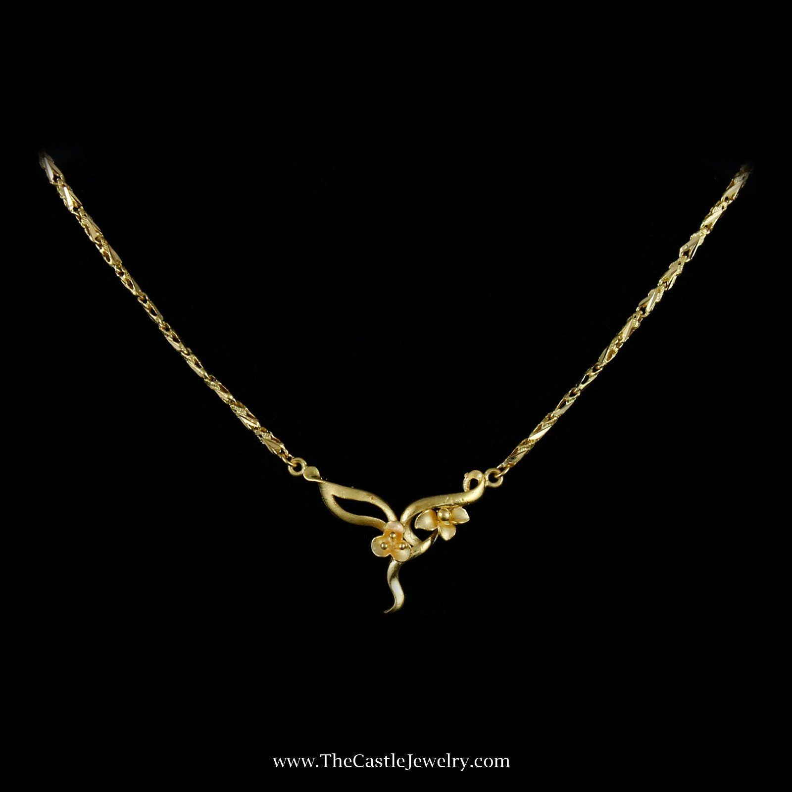 Charming Flower Link Necklace in 21K Yellow Gold-0
