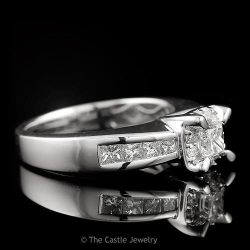 Princess Cut Diamond Engagement with Round Diamond Halo & Side Accents 1 cttw-2