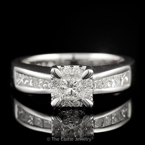 Princess Cut Diamond Engagement with Round Diamond Halo & Side Accents 1 cttw
