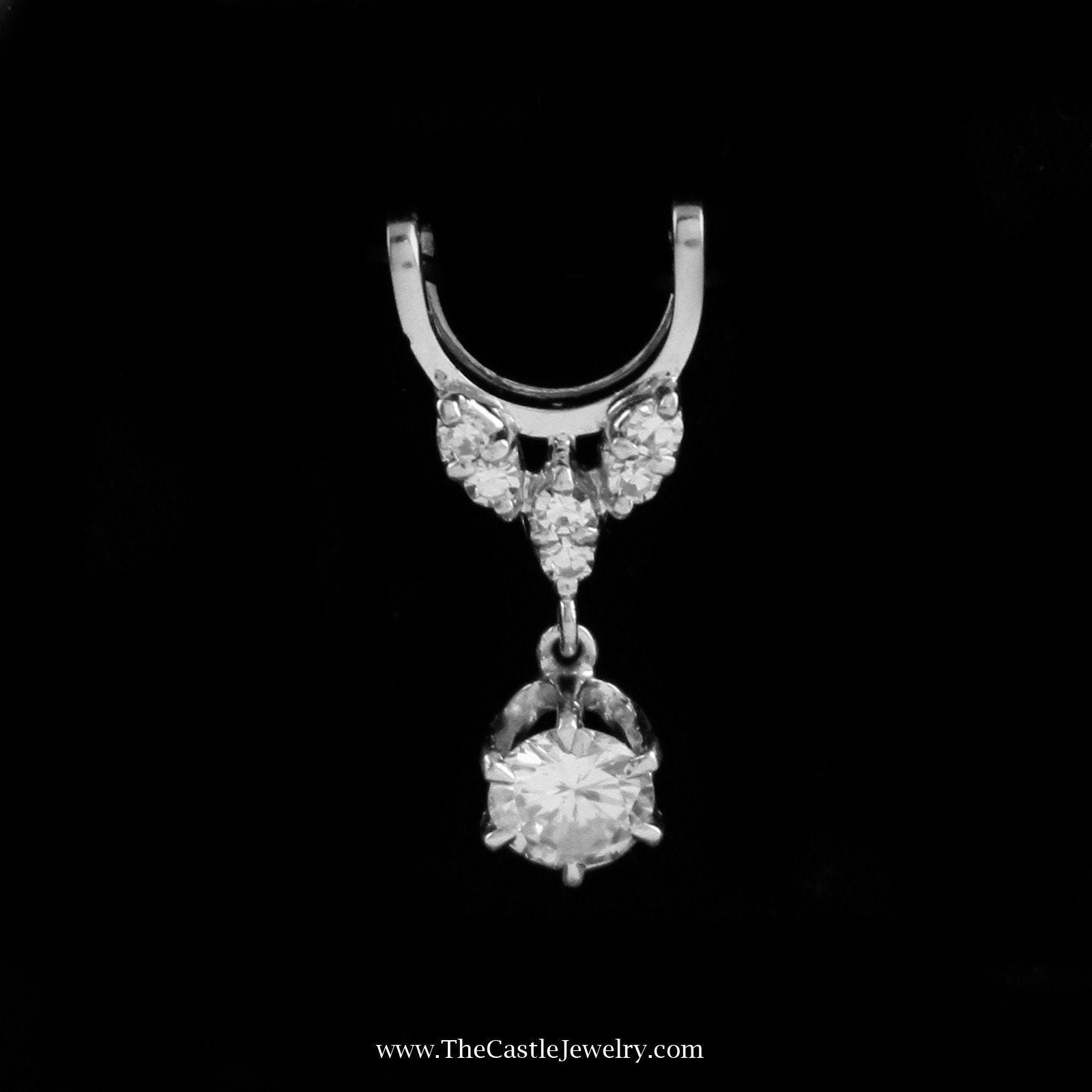 Beautiful Slide Pendant with Dangling Round Brilliant Cut Diamond in 18K White Gold