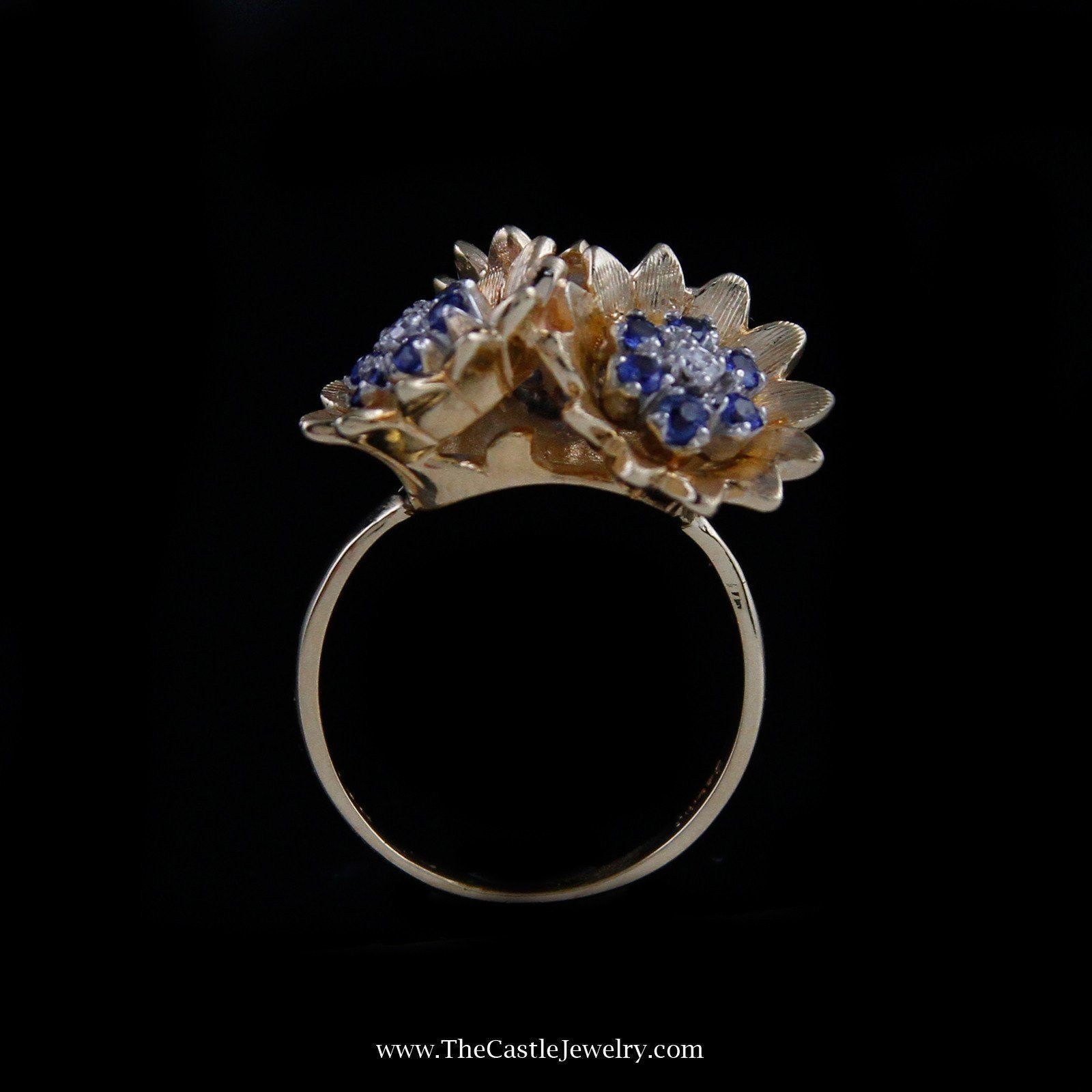 Charming Triple Flower Sapphire Cluster Ring in 14K Yellow Gold-1