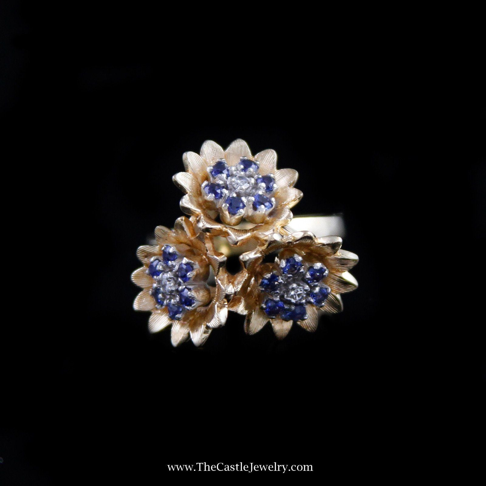 Charming Triple Flower Sapphire Cluster Ring in 14K Yellow Gold