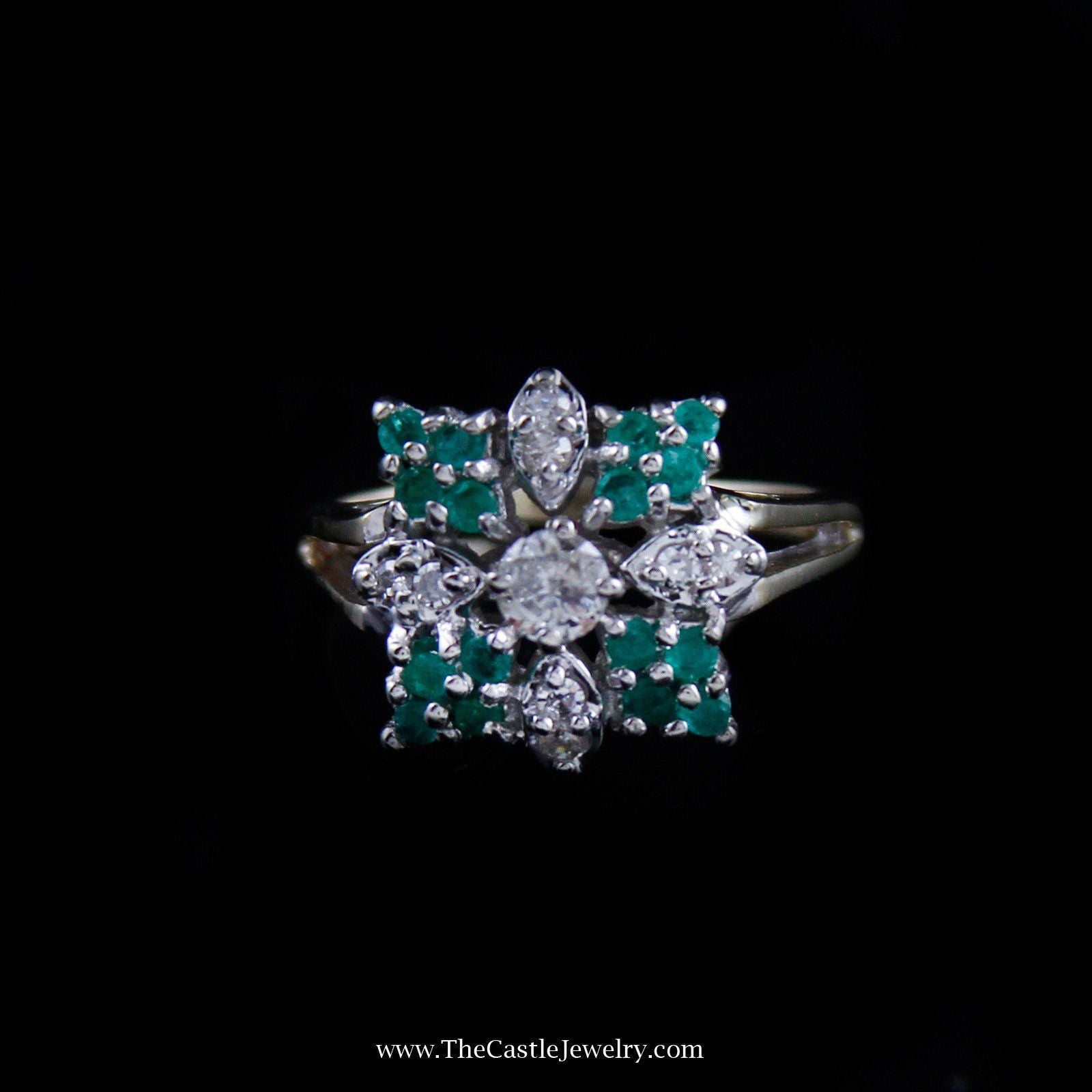 Gorgeous Diamond and Emerald Square Shaped Cluster in 14K Yellow Gold