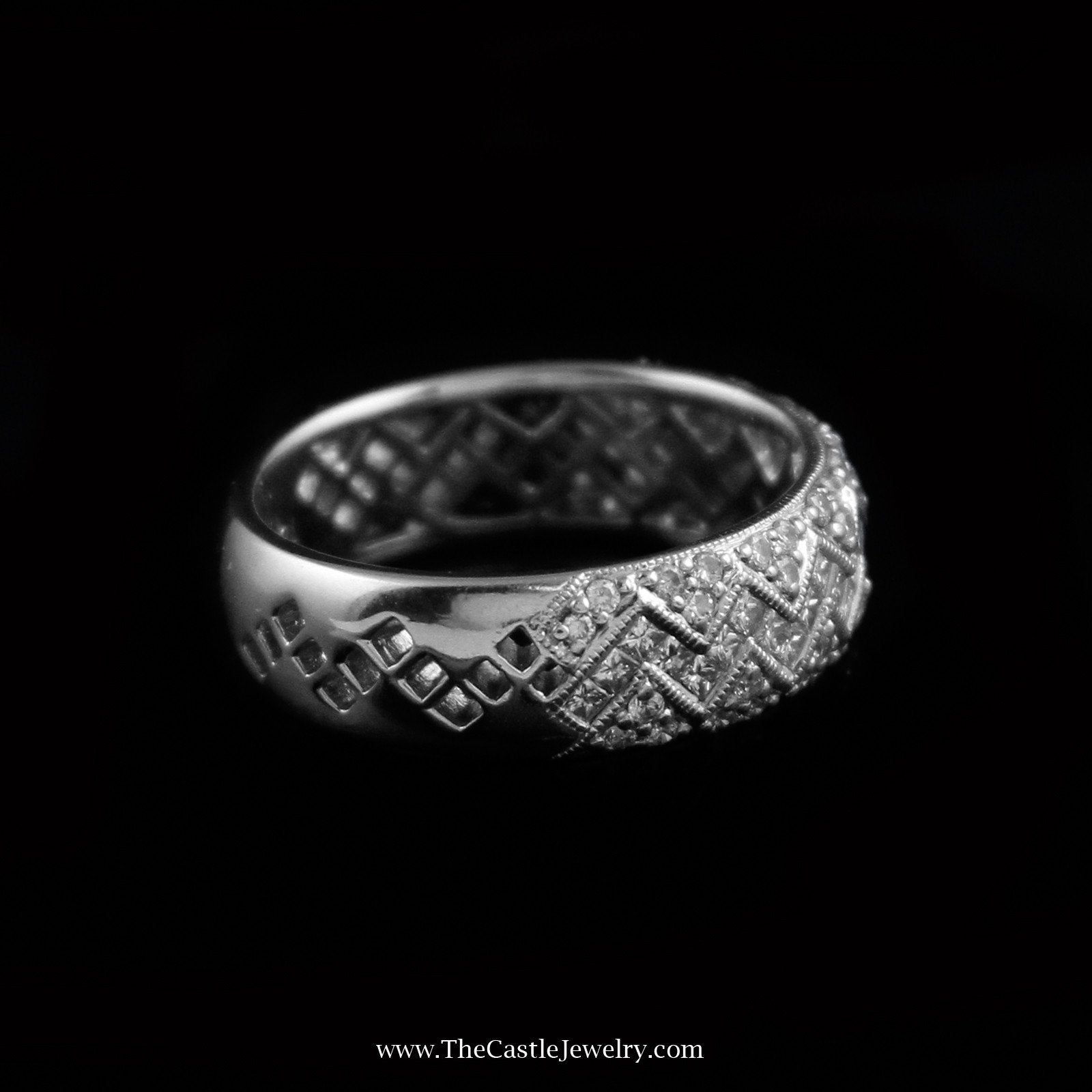 Gorgeous Zig Zag Design Diamond Cluster Band in 18K White Gold