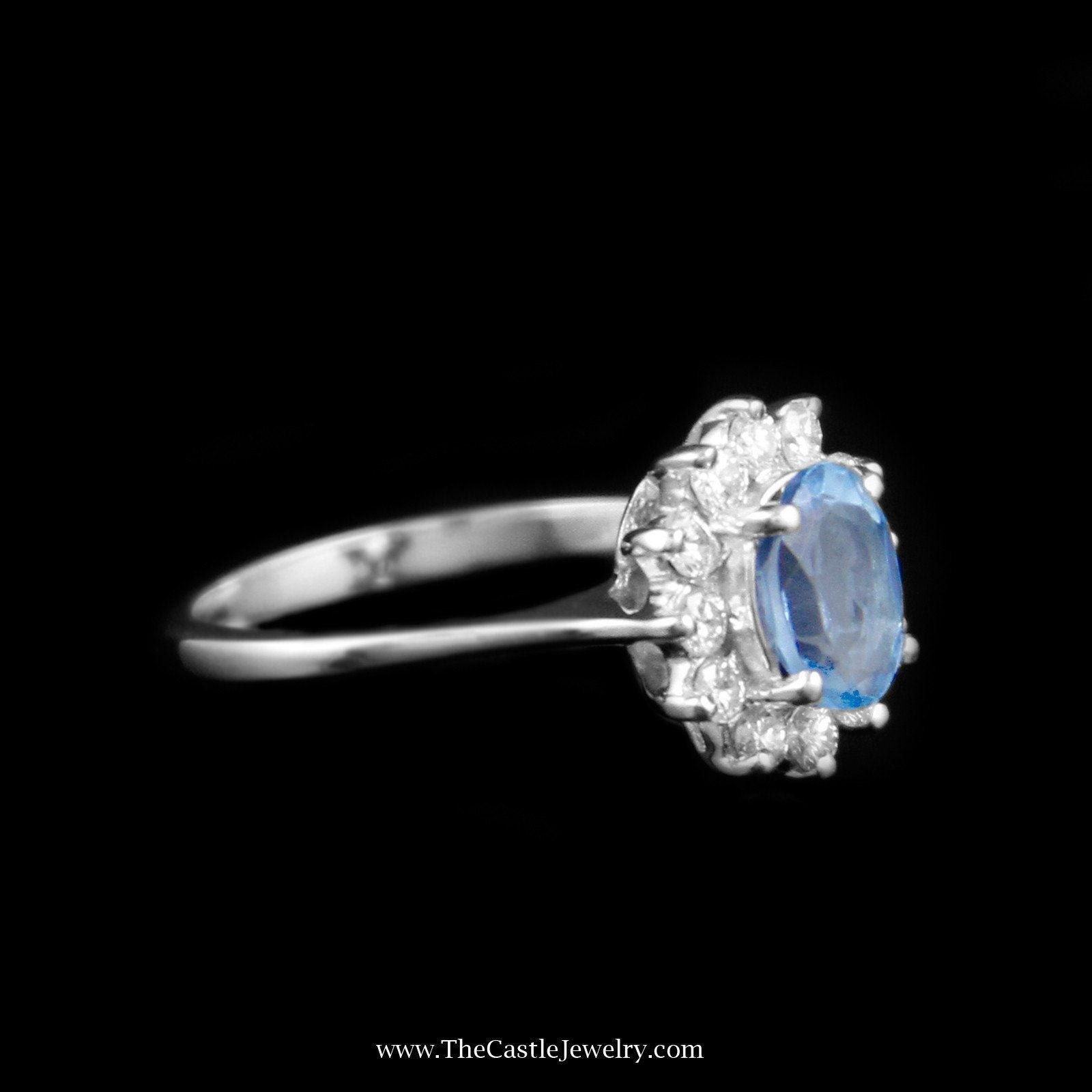 Charming Oval Topaz Ring with Diamond Bezel in 14K White Gold-2