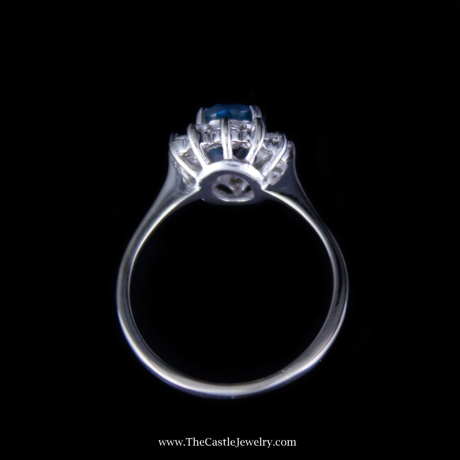 Charming Oval Topaz Ring with Diamond Bezel in 14K White Gold-1