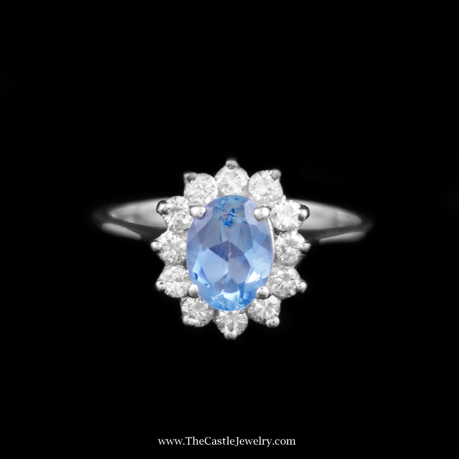 Charming Oval Topaz Ring with Diamond Bezel in 14K White Gold