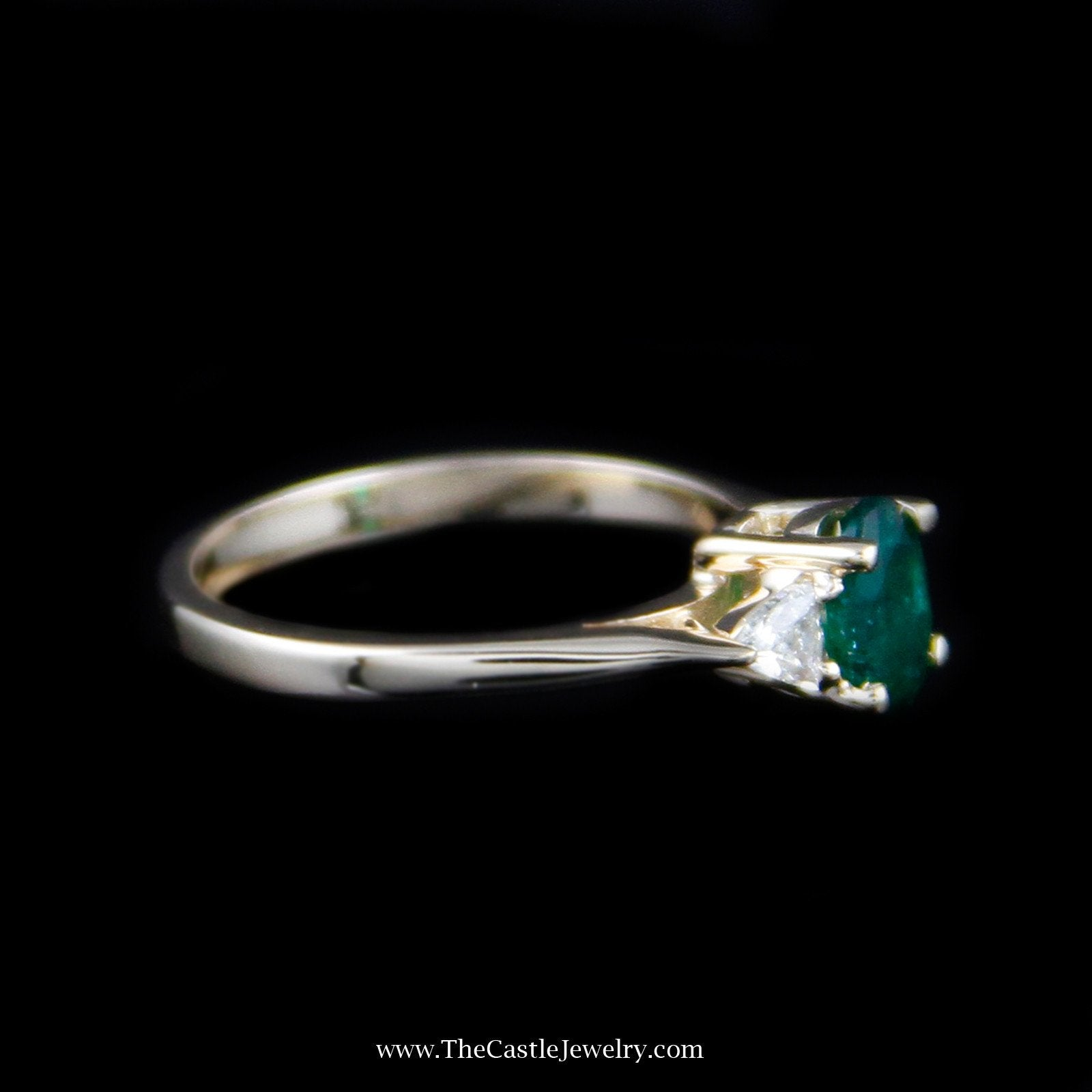 Beautiful Oval Emerald Ring w/ Trillion Cut Diamond Sides in Yellow Gold-2