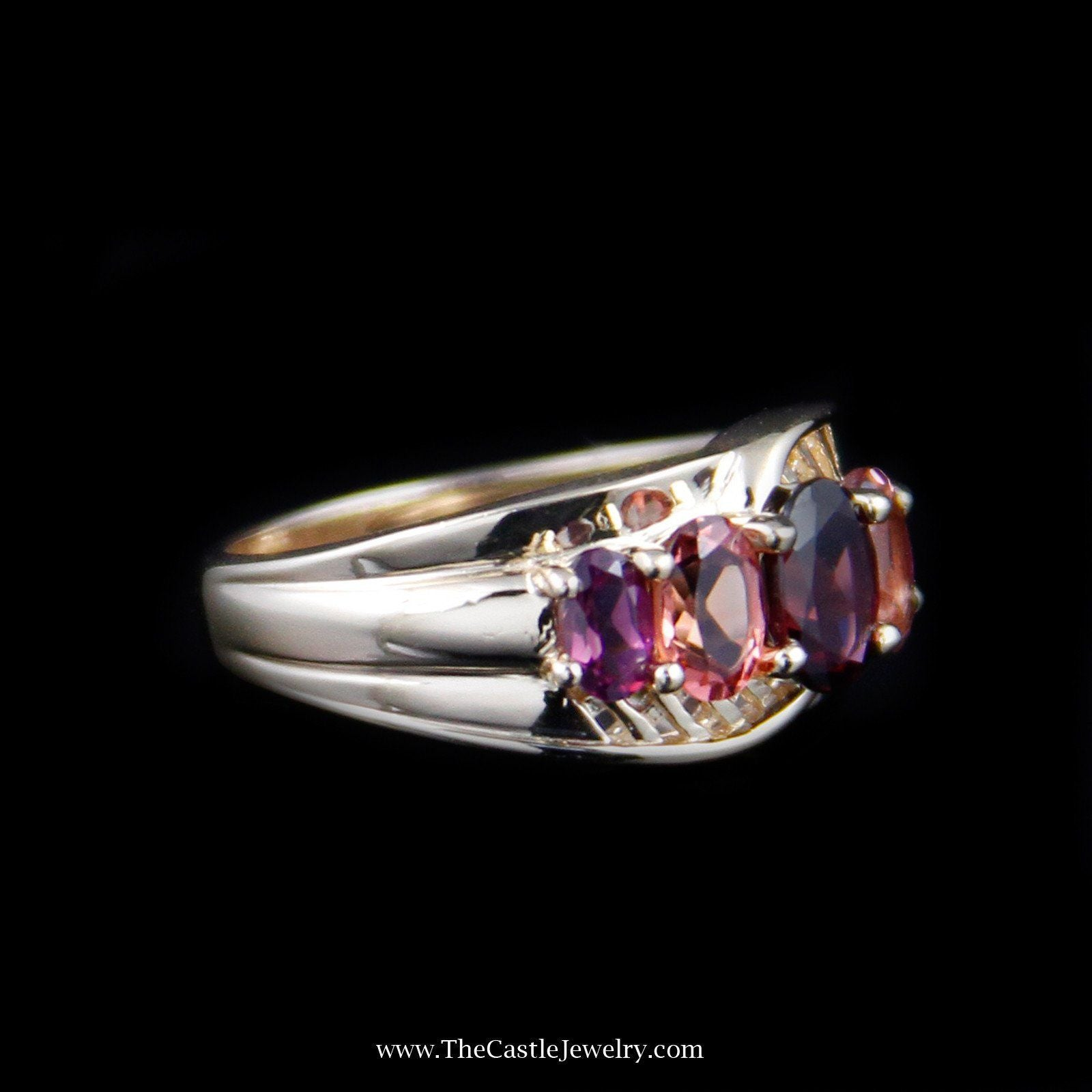 Beautiful Oval Rhodolite Garnet & Morganite Gemstone Ring in 14K Yellow Gold-2