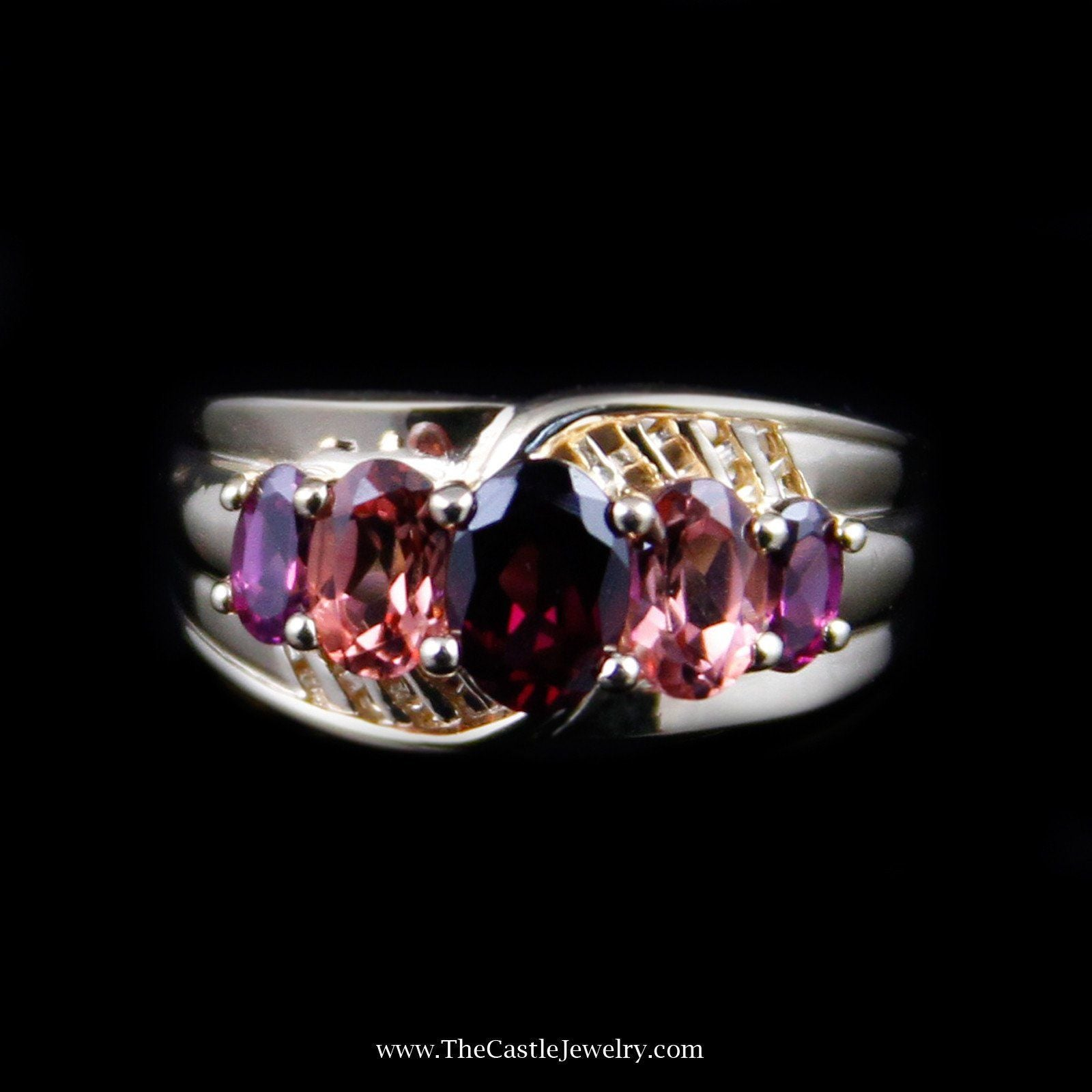 Beautiful Oval Rhodolite Garnet & Morganite Gemstone Ring in 14K Yellow Gold