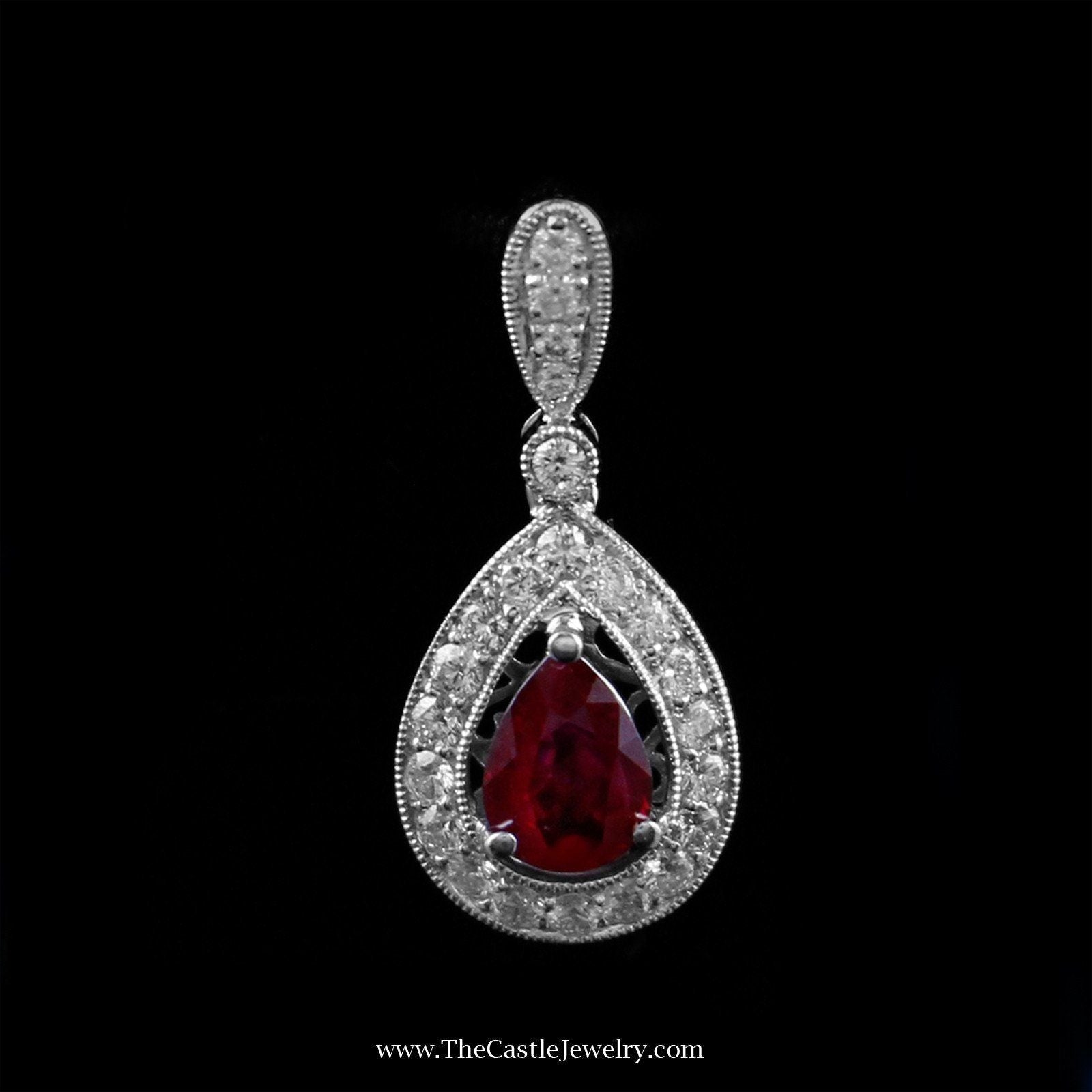 Beautiful Pear Cut Ruby Pendant with Diamond Bezel in 14K White Gold