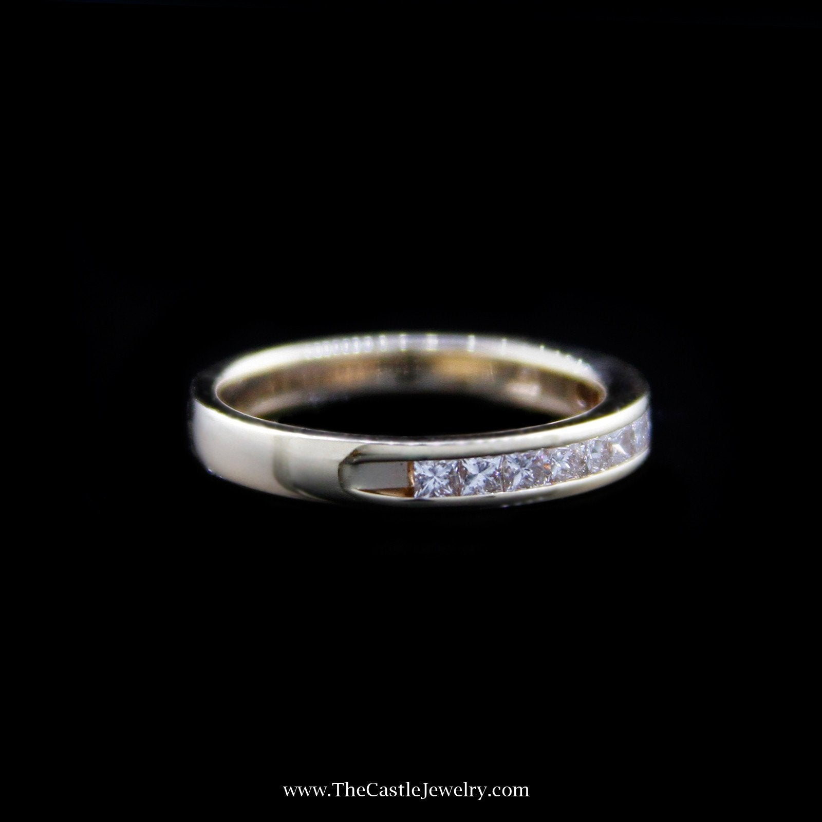 Beautiful Diamond Wedding Band with Princess Cut Diamonds in 14K Yellow Gold-2