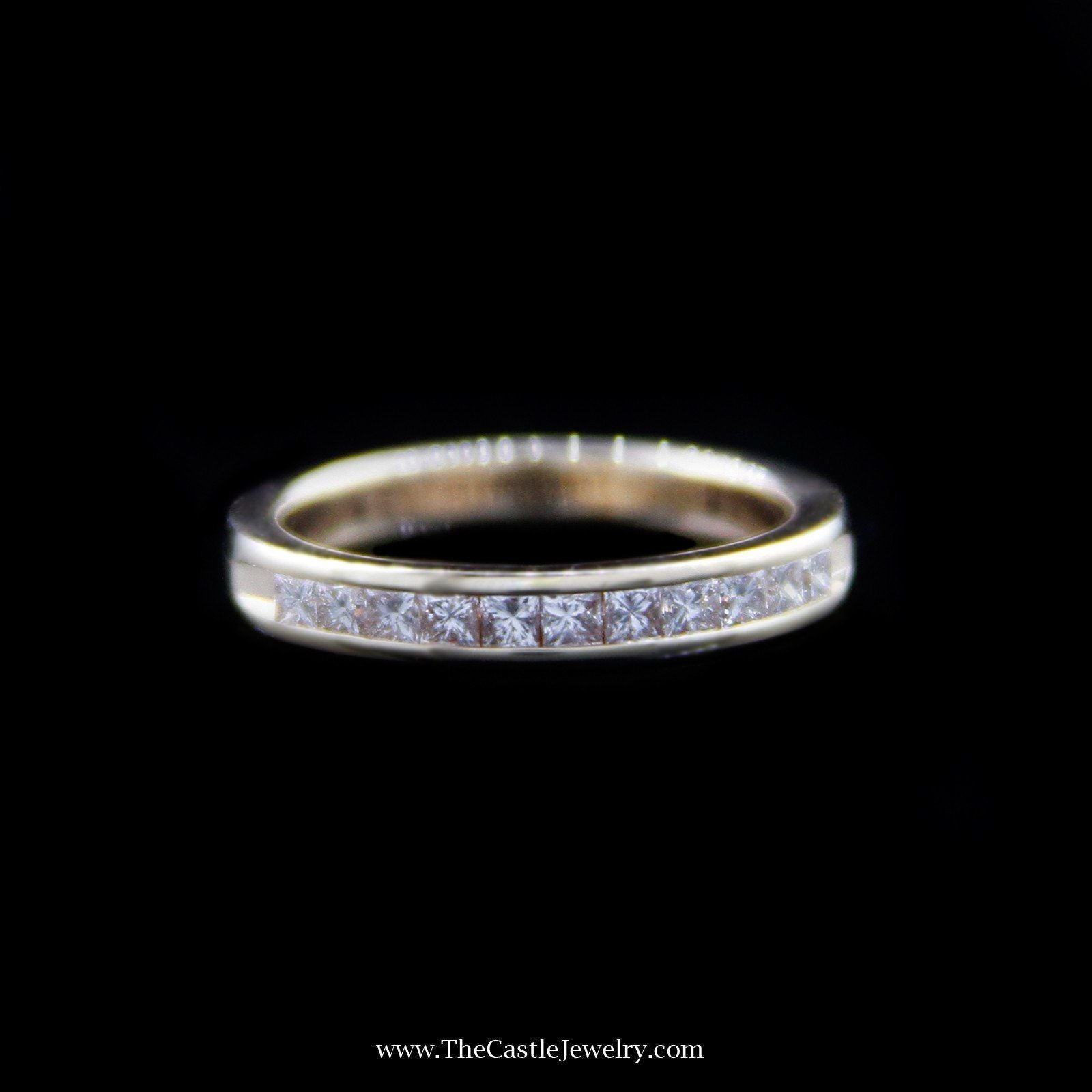 Beautiful Diamond Wedding Band with Princess Cut Diamonds in 14K Yellow Gold