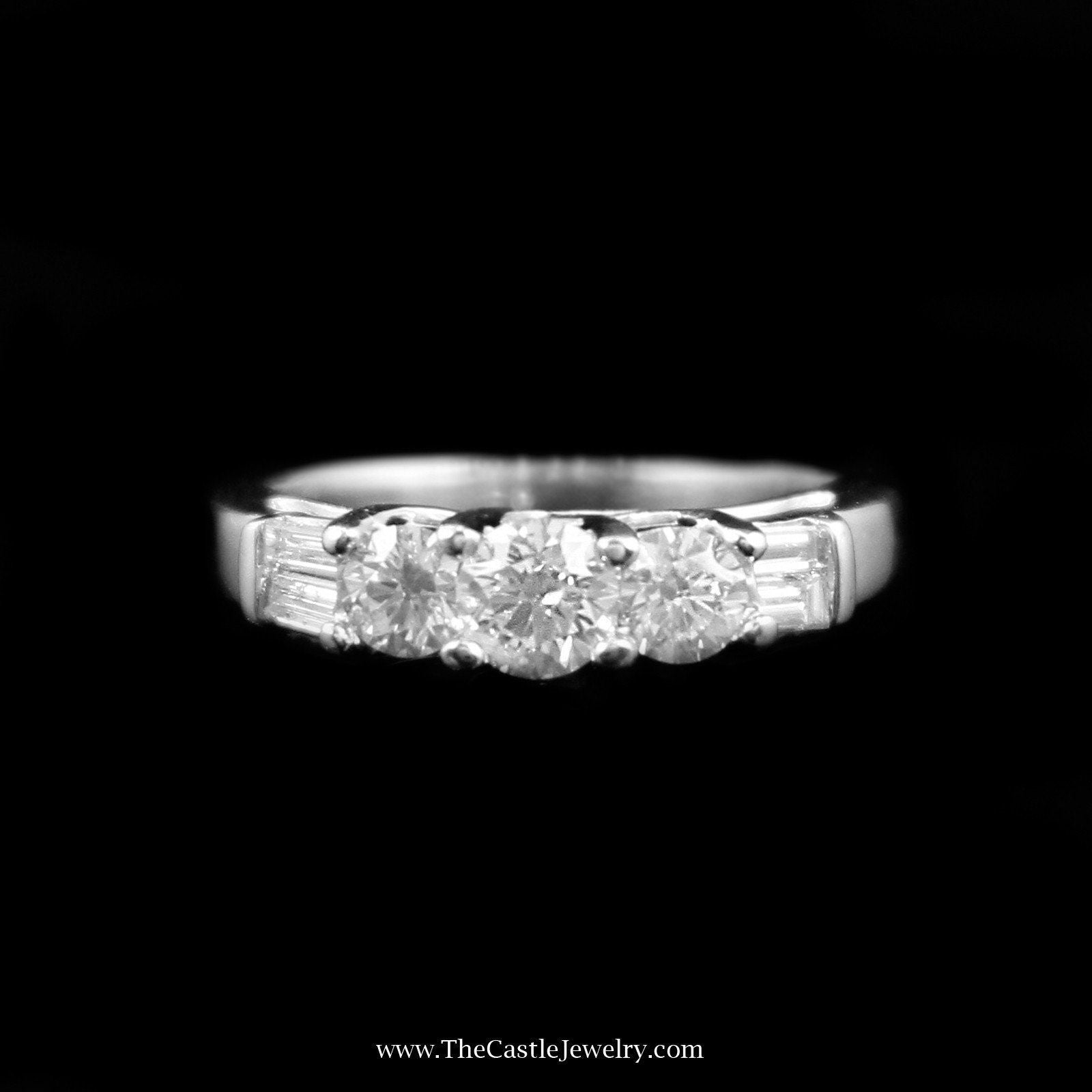 Stunning 1cttw DeBeers Style Diamond Ring w/ Baguette Sides in White Gold