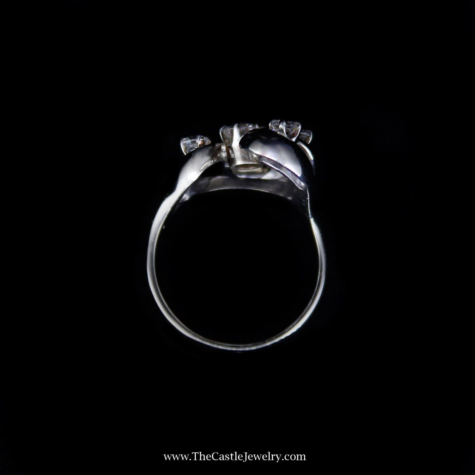 Unique .75cttw Freeform Design Diamond Ring in White Gold-1