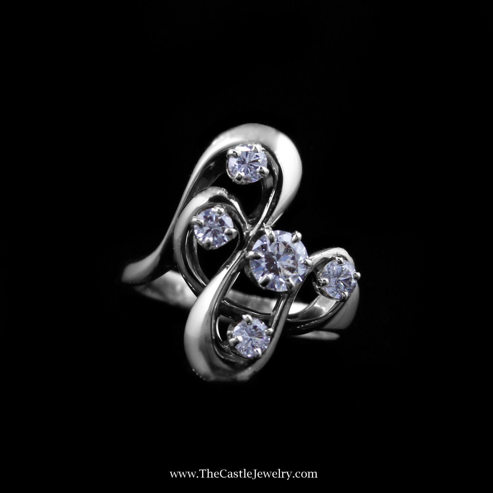 Unique .75cttw Freeform Design Diamond Ring in White Gold