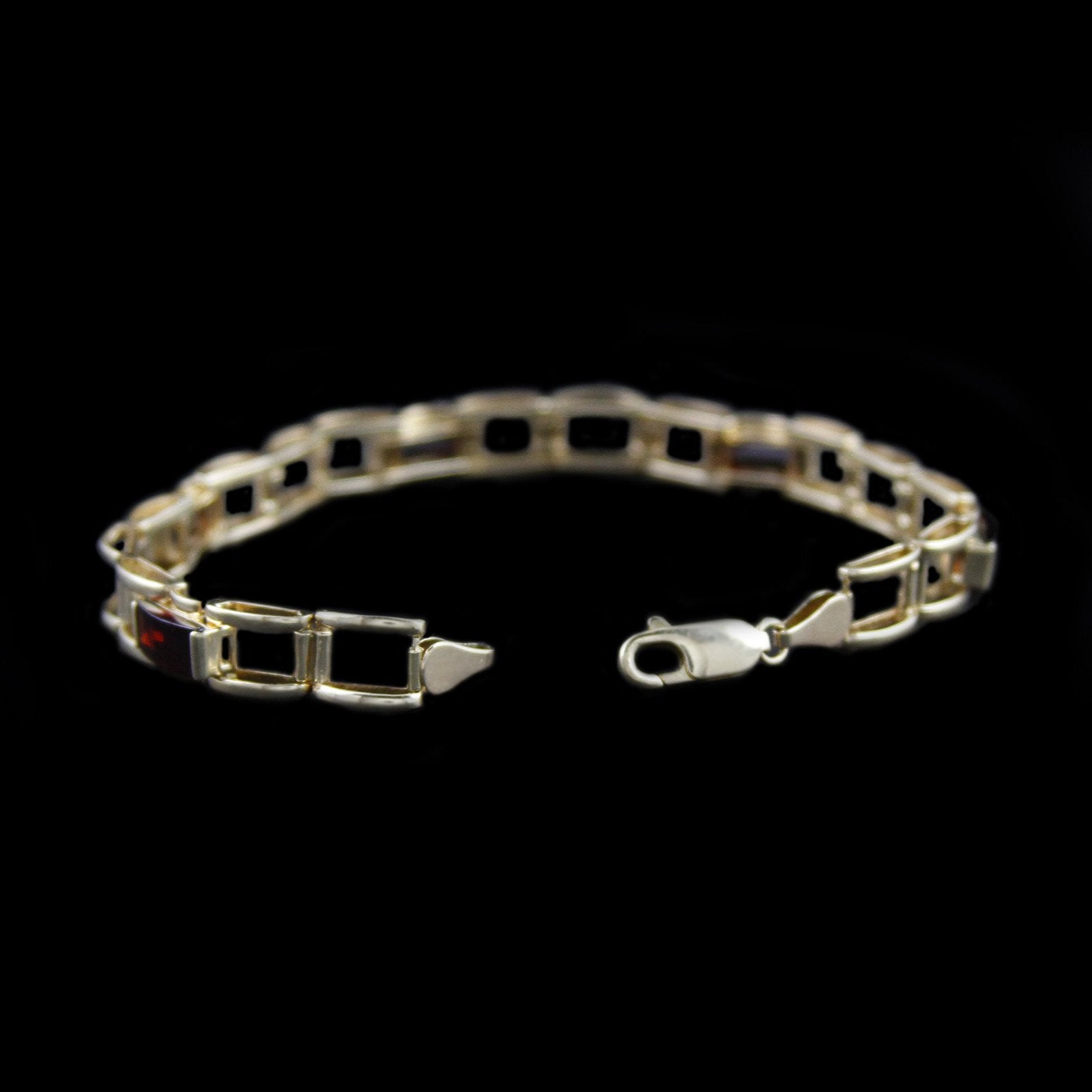 Beautiful Garnet Bracelet with Open Square Design Links in 14K Yellow Gold-1