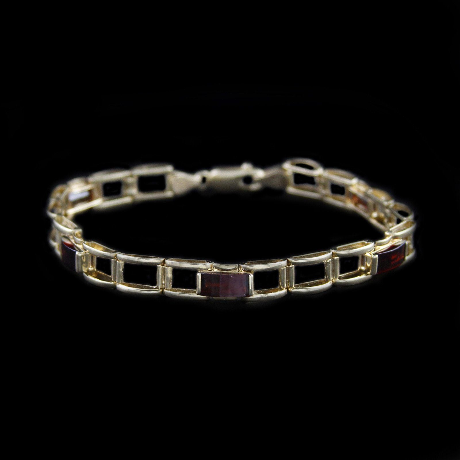 Beautiful Garnet Bracelet with Open Square Design Links in 14K Yellow Gold