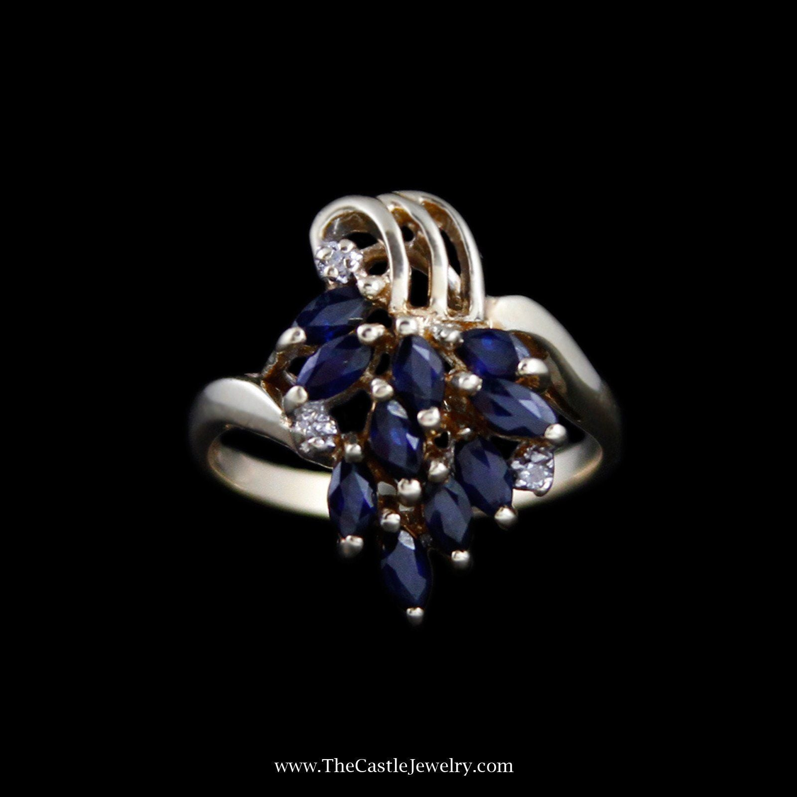 Charming Marquise Sapphire Cluster Ring with Diamond Accents in 10k Yellow Gold