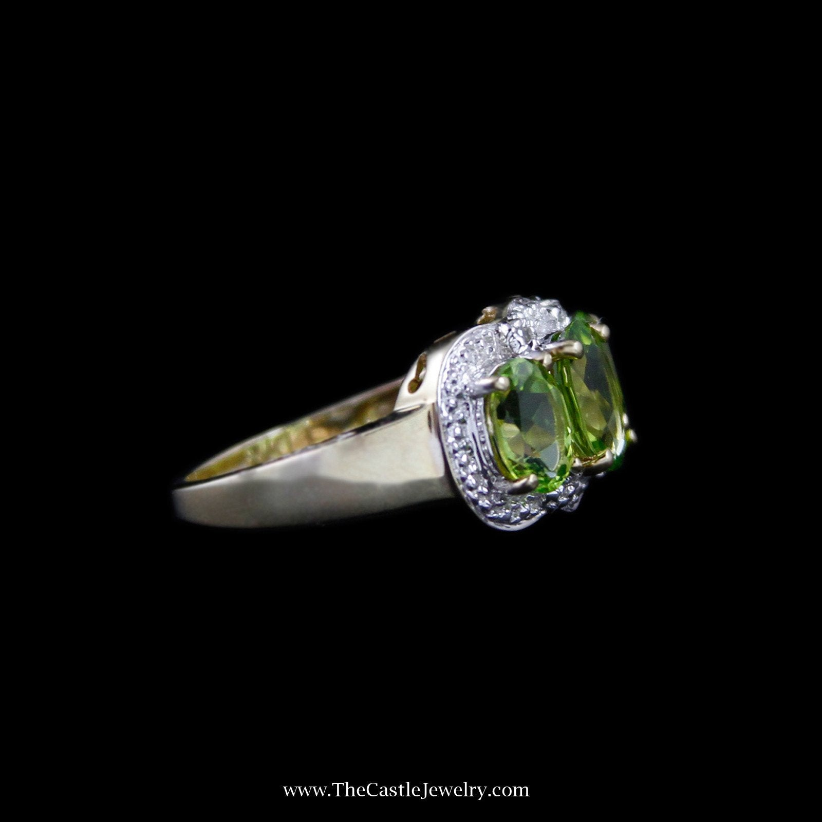 Stunning Triple Oval Peridot Ring with Diamond Accent Halo in 10K Yellow Gold-2