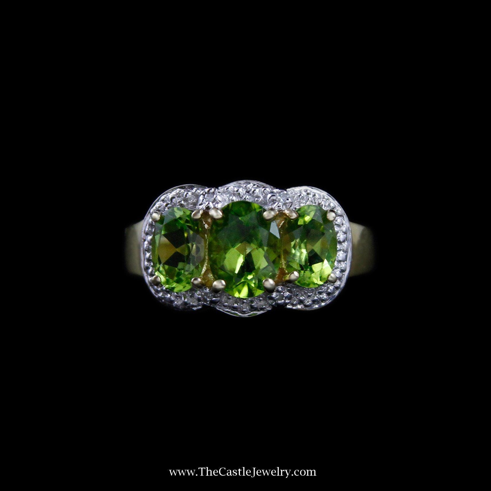 Stunning Triple Oval Peridot Ring with Diamond Accent Halo in 10K Yellow Gold