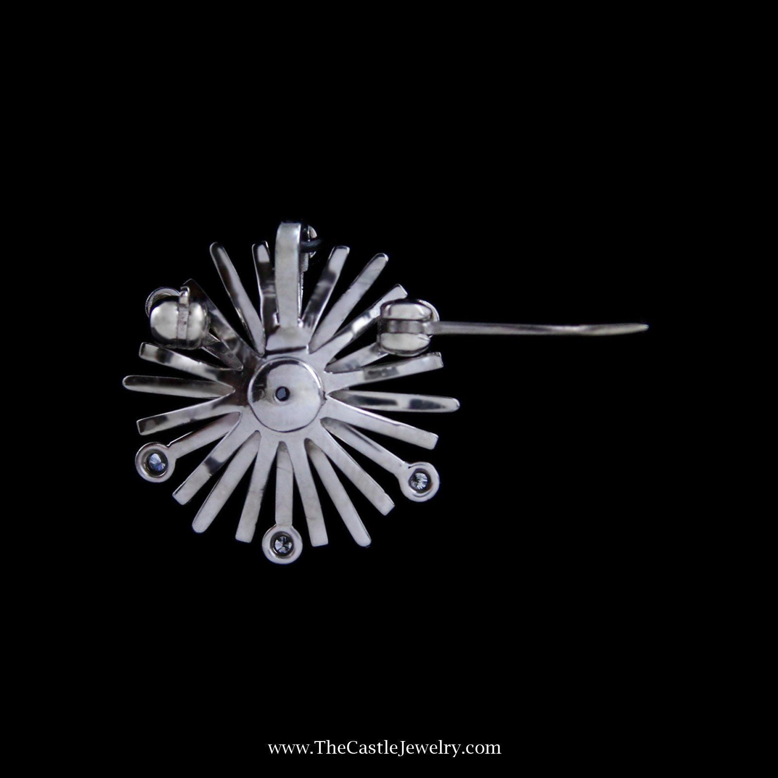 Stunning Diamond Starburst Design Pendant/Pin in 14k White Gold-2