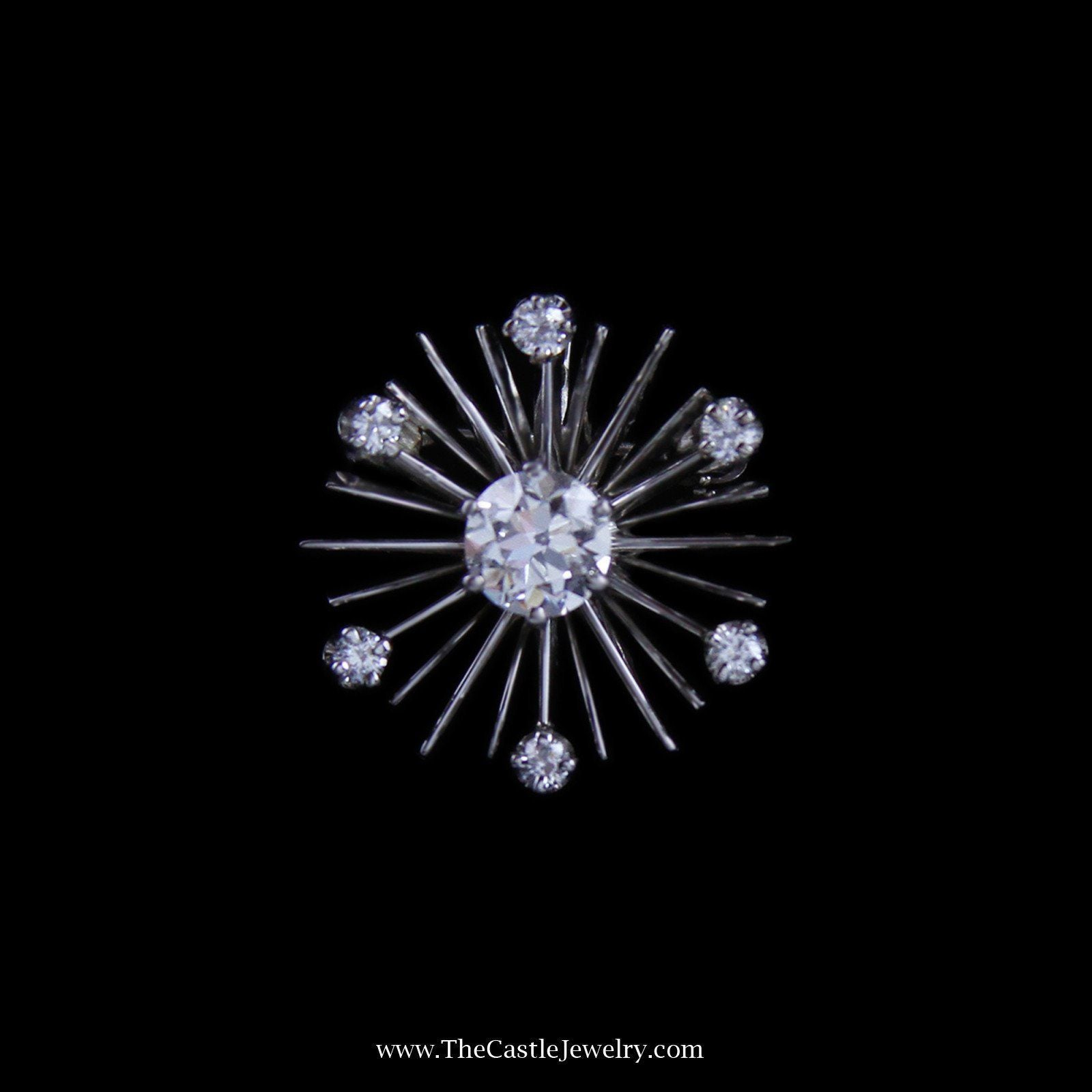 Stunning Diamond Starburst Design Pendant/Pin in 14k White Gold