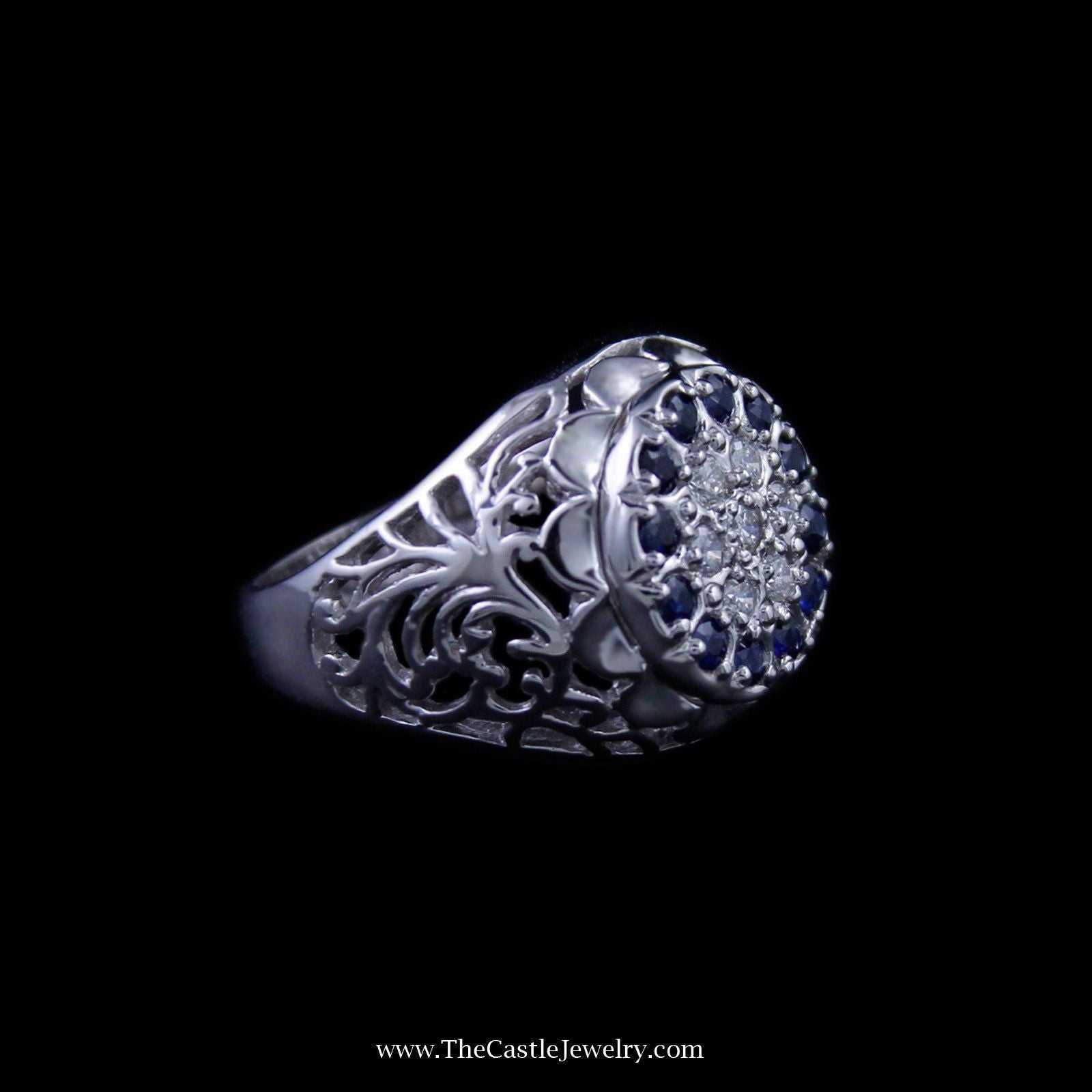 Sapphire and Diamond Kentucky Cluster Ring w/ Filigree in 10K White Gold-2