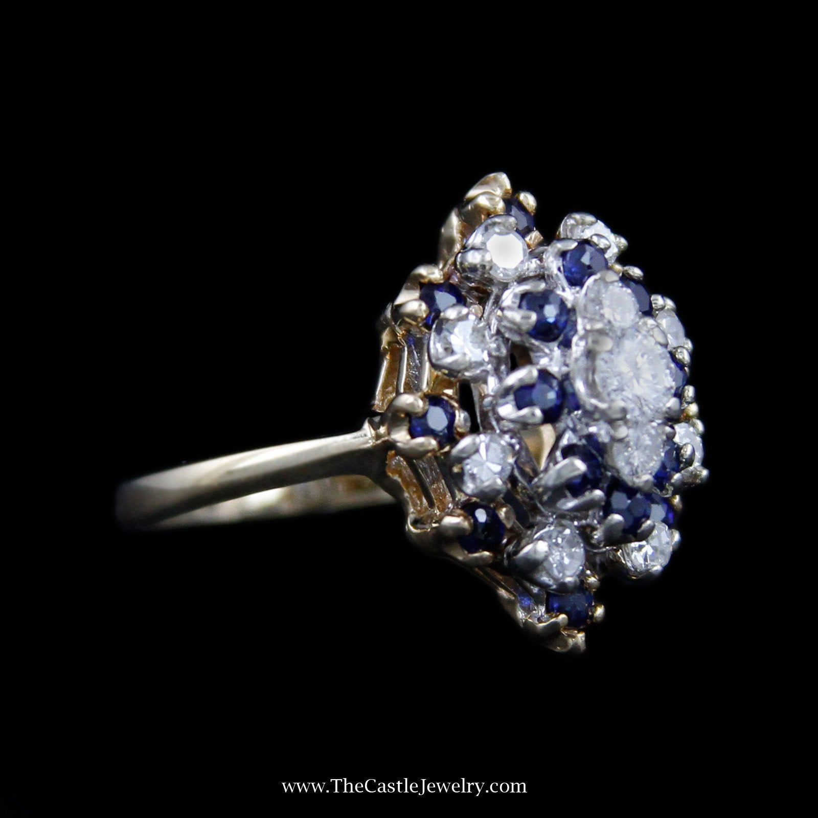 Stunning Marquise Shaped Cluster with Diamonds & Sapphires in 14K Yellow Gold