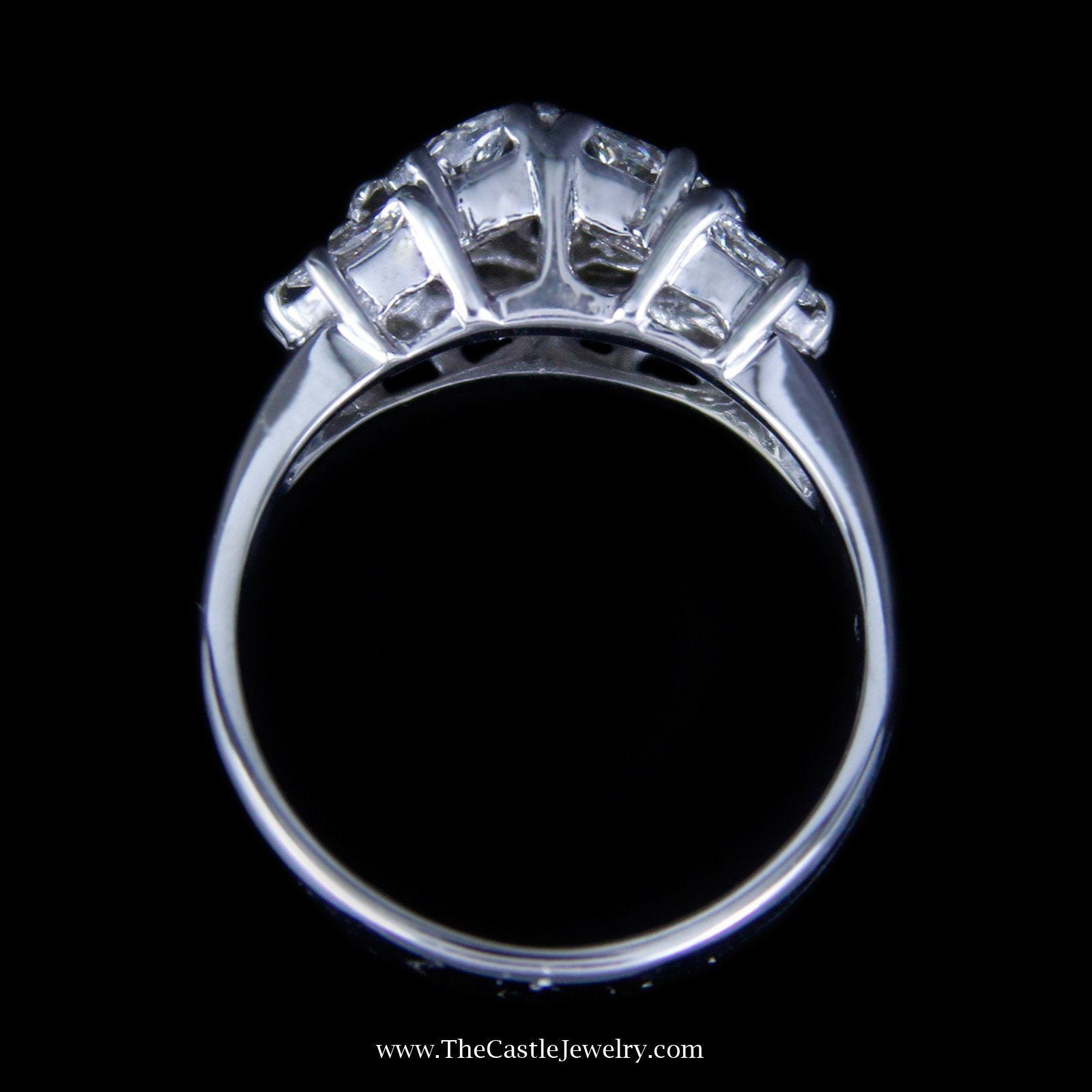 Gorgeous Marquise Diamond Cluster Ring with Polished Sides in 18K White Gold-1