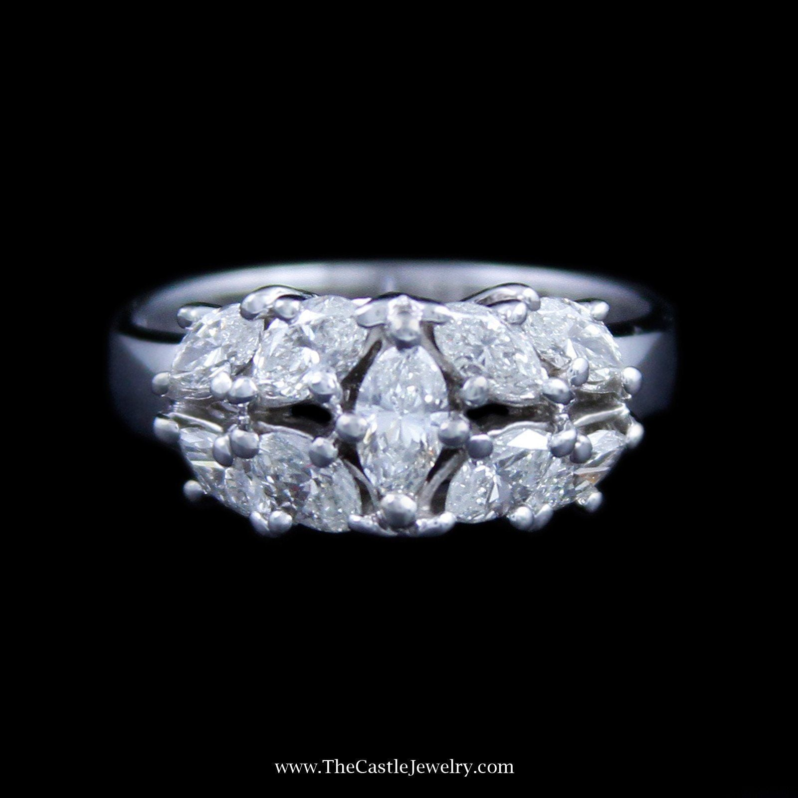 Gorgeous Marquise Diamond Cluster Ring with Polished Sides in 18K White Gold