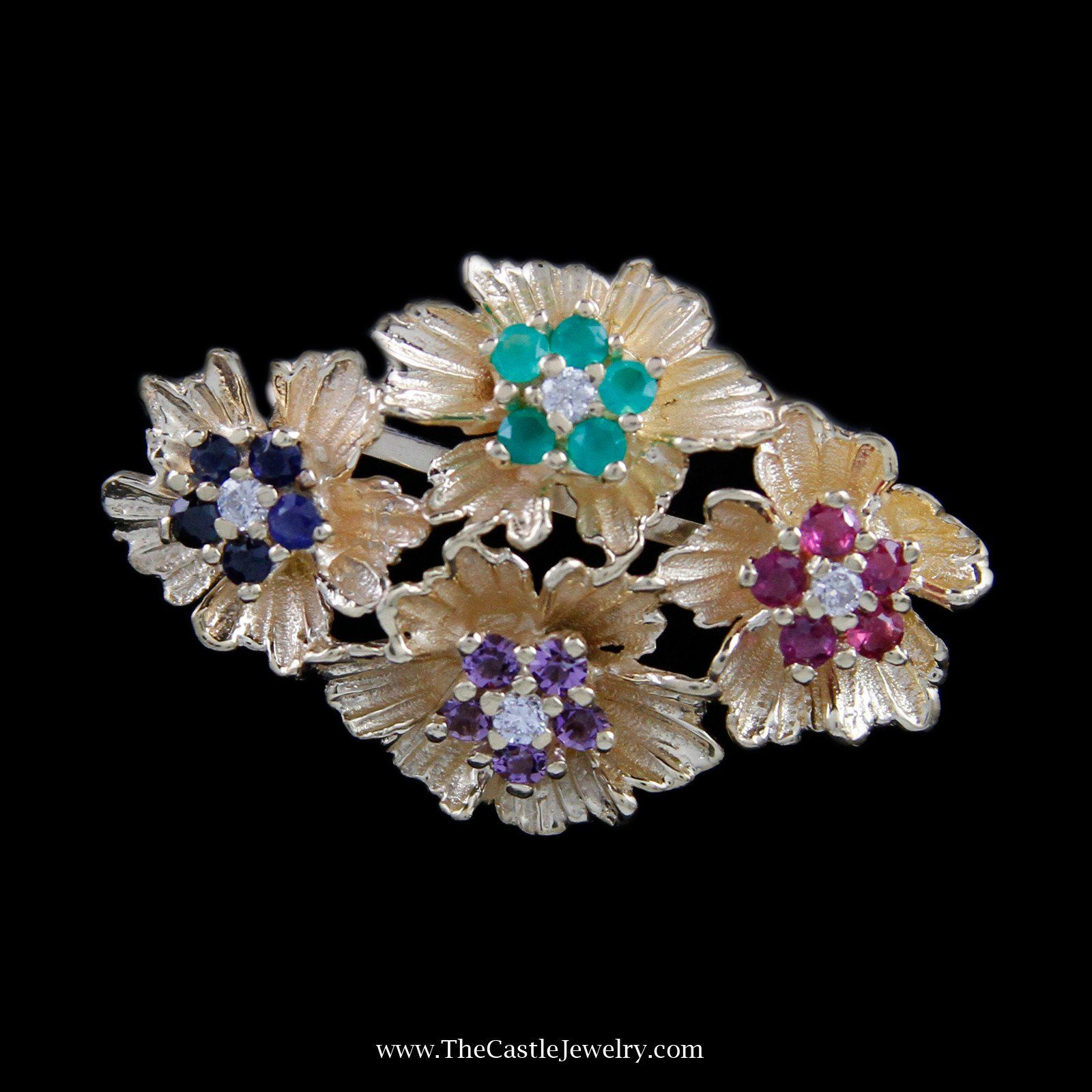 Beautiful Flower Multiple Gemstone Pin with Diamond Accents in 14K Yellow Gold