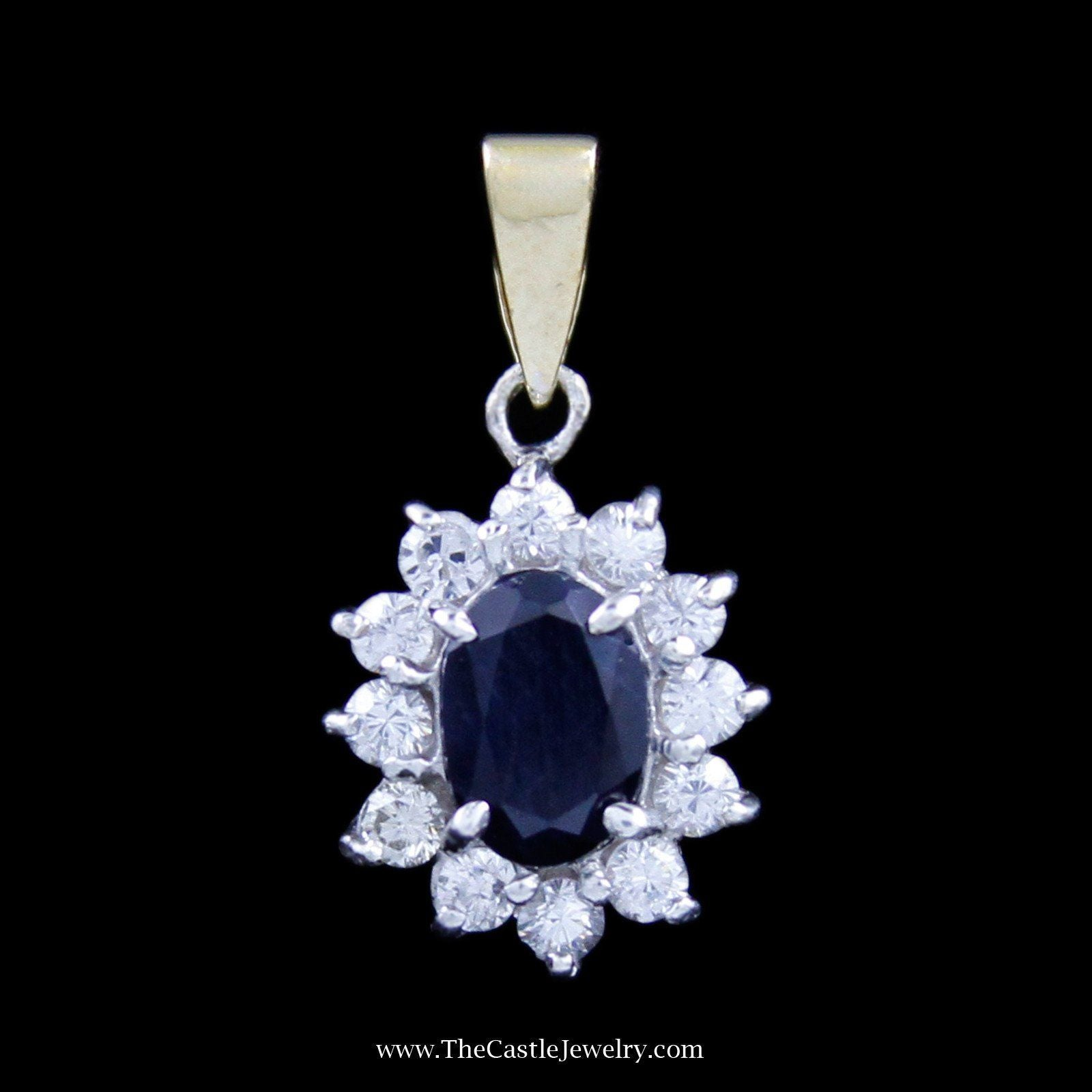 Oval Sapphire Pendant with Round Brilliant Cut Diamond Bezel in Two-Tone Gold