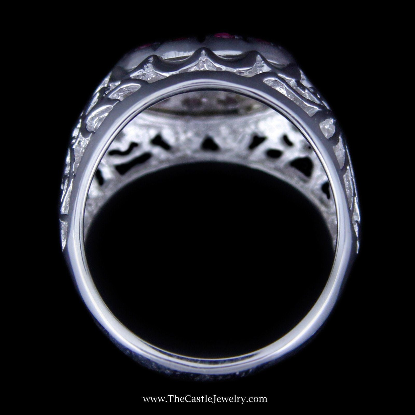 Ruby and Diamond Kentucky Cluster Ring w/ Filigree in 10K White Gold-1