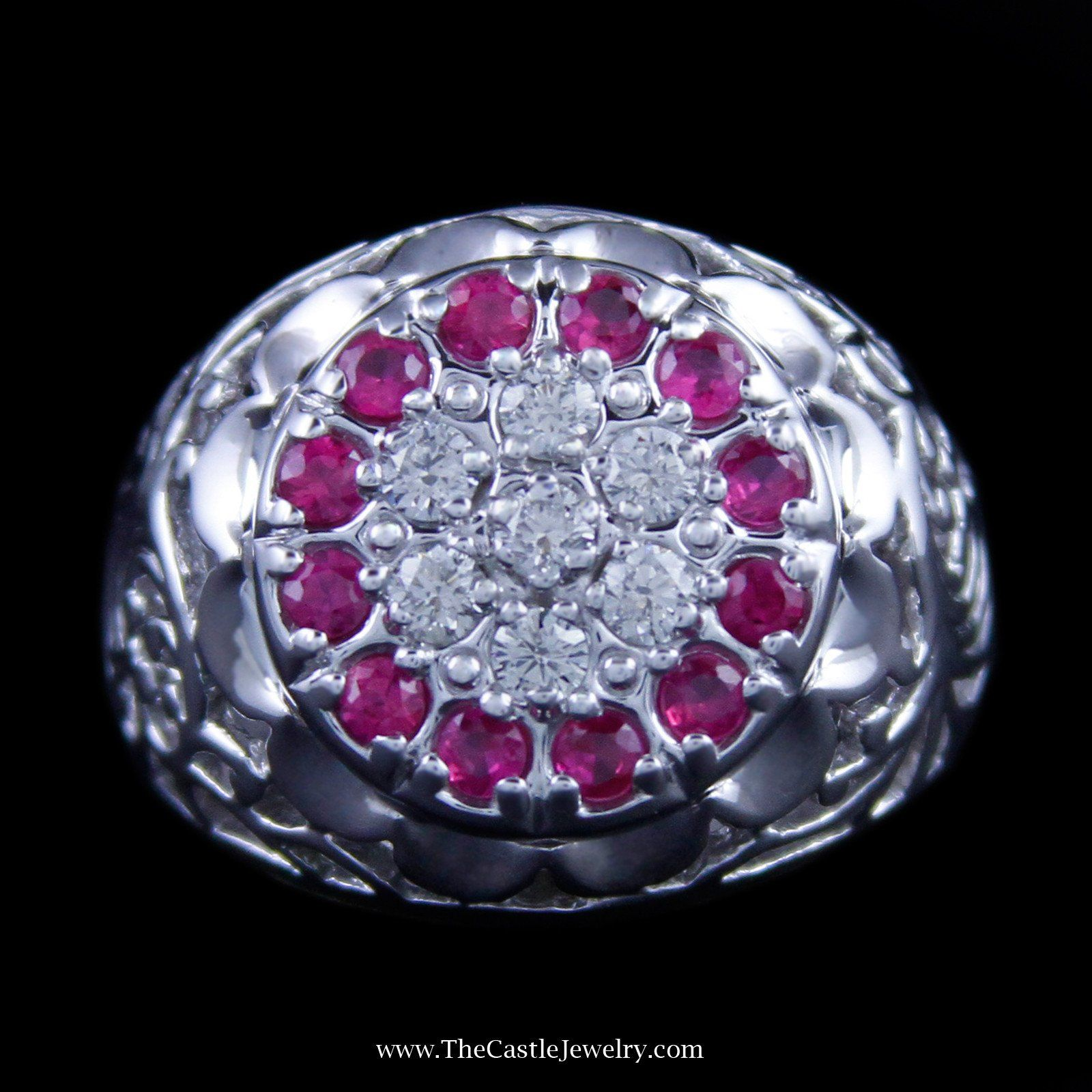 Ruby and Diamond Kentucky Cluster Ring w/ Filigree in 10K White Gold