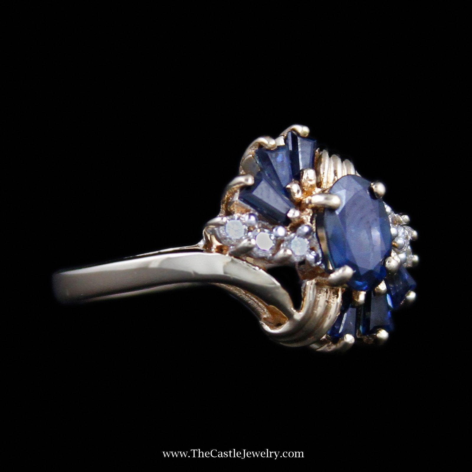 Beautiful Oval Cut Sapphire Ring with Baguette Sapphire & Round Diamond Sides-2